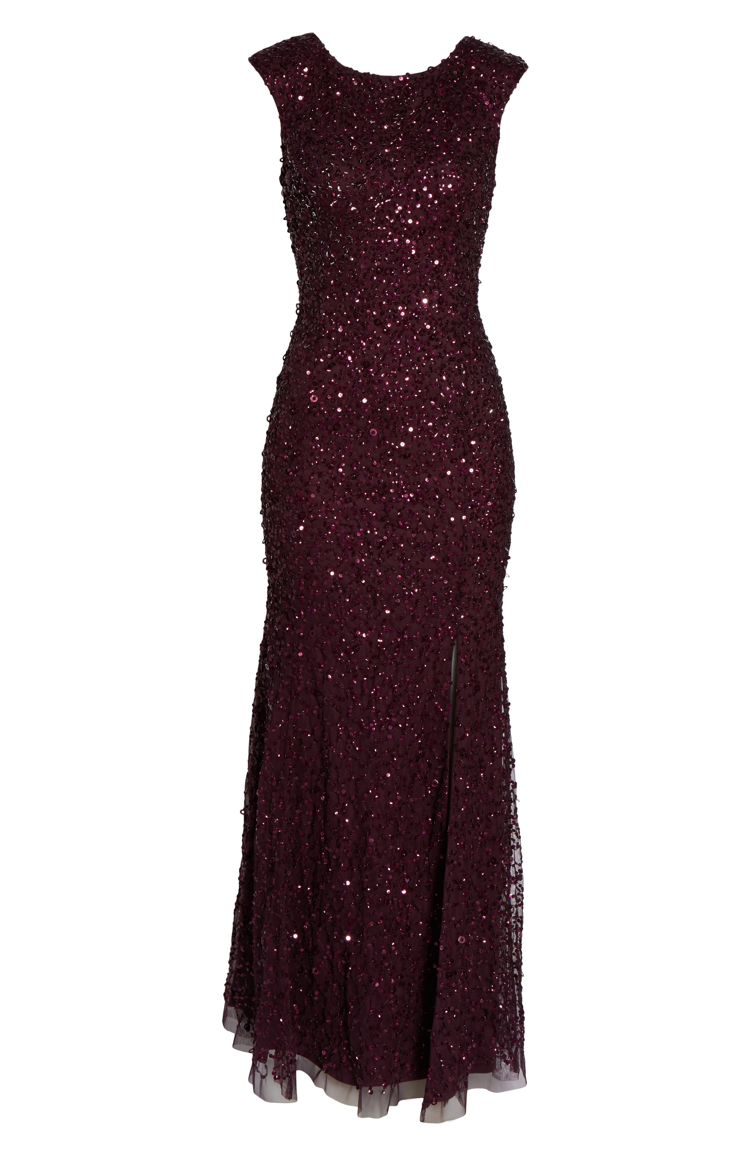 Sequin Evening Dress,                             Alternate thumbnail 7, color,                             NIGHT PLUM