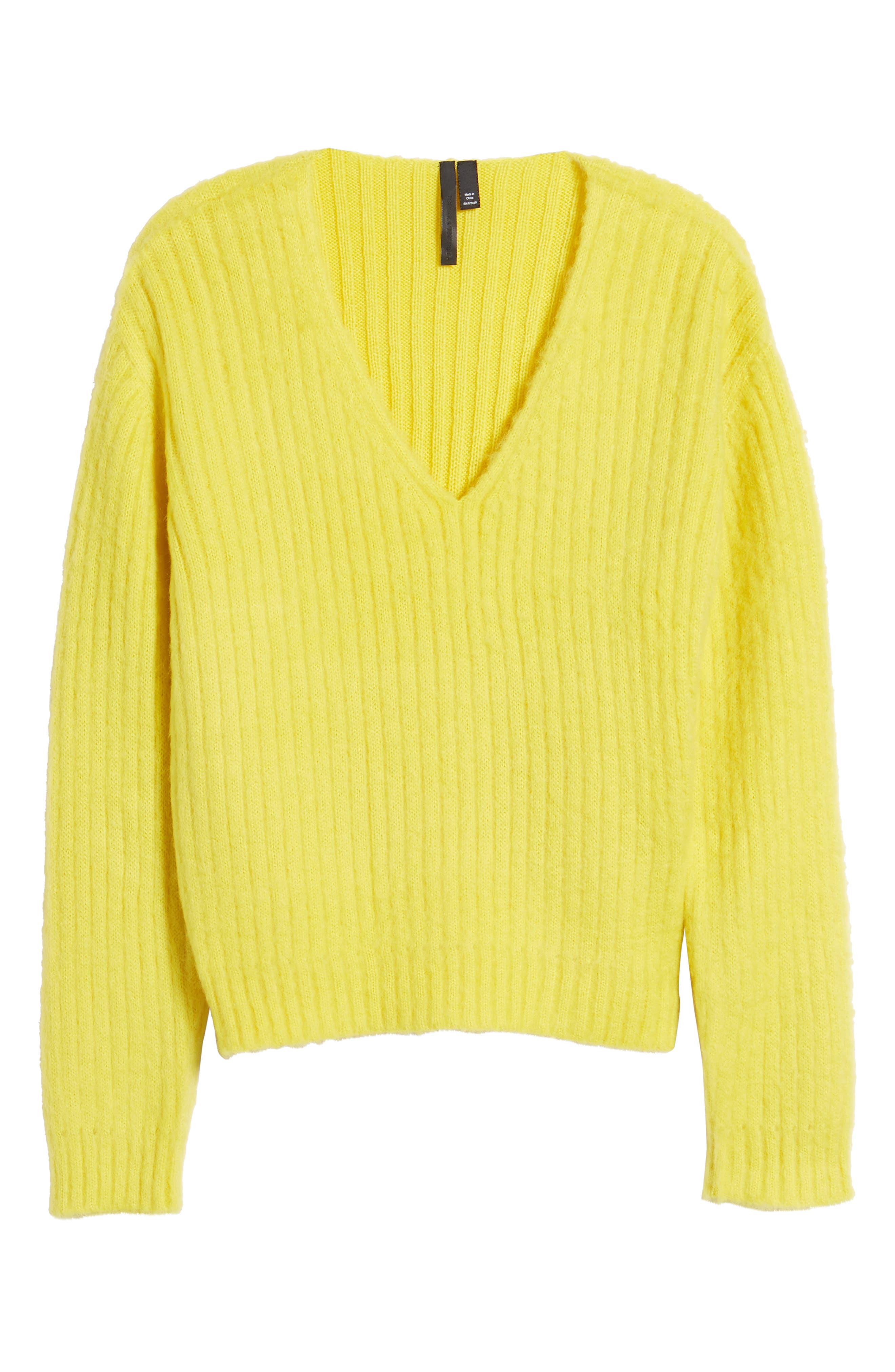 V-Neck Rib Sweater,                             Alternate thumbnail 7, color,                             700