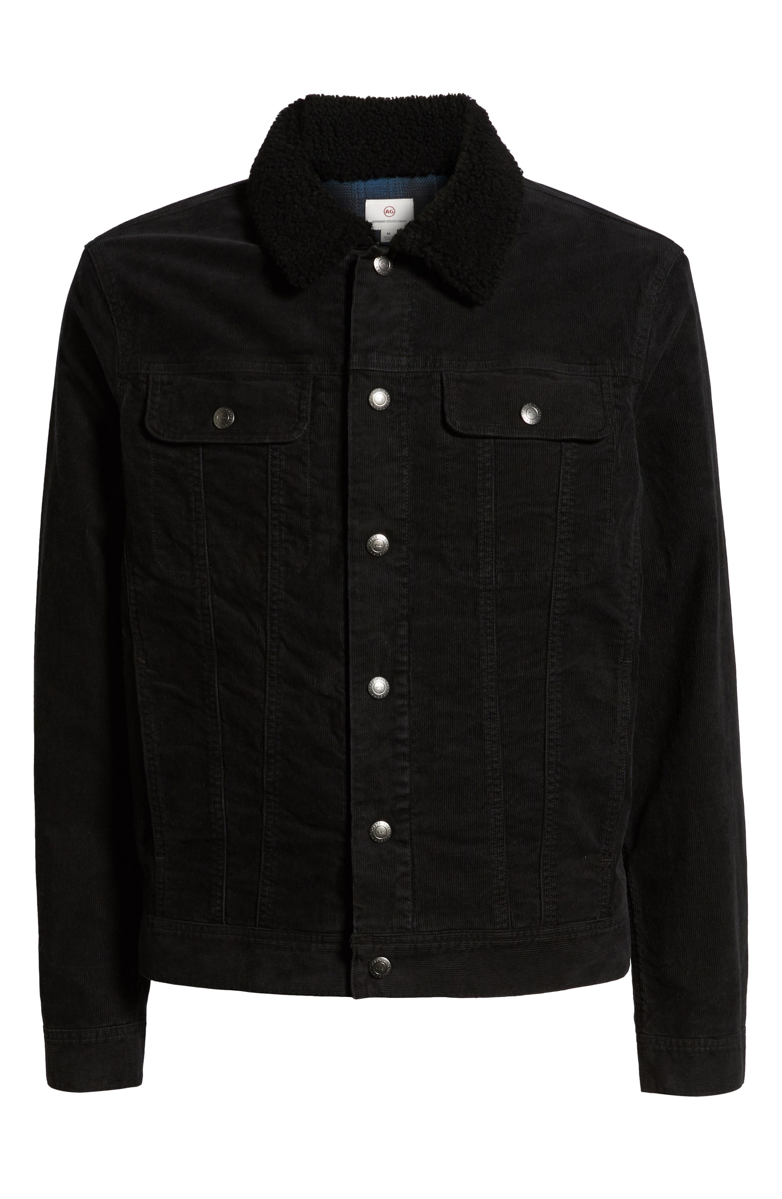 The Dart Corduroy Jacket with Genuine Shearling Collar,                             Alternate thumbnail 5, color,                             SULFUR BLACK