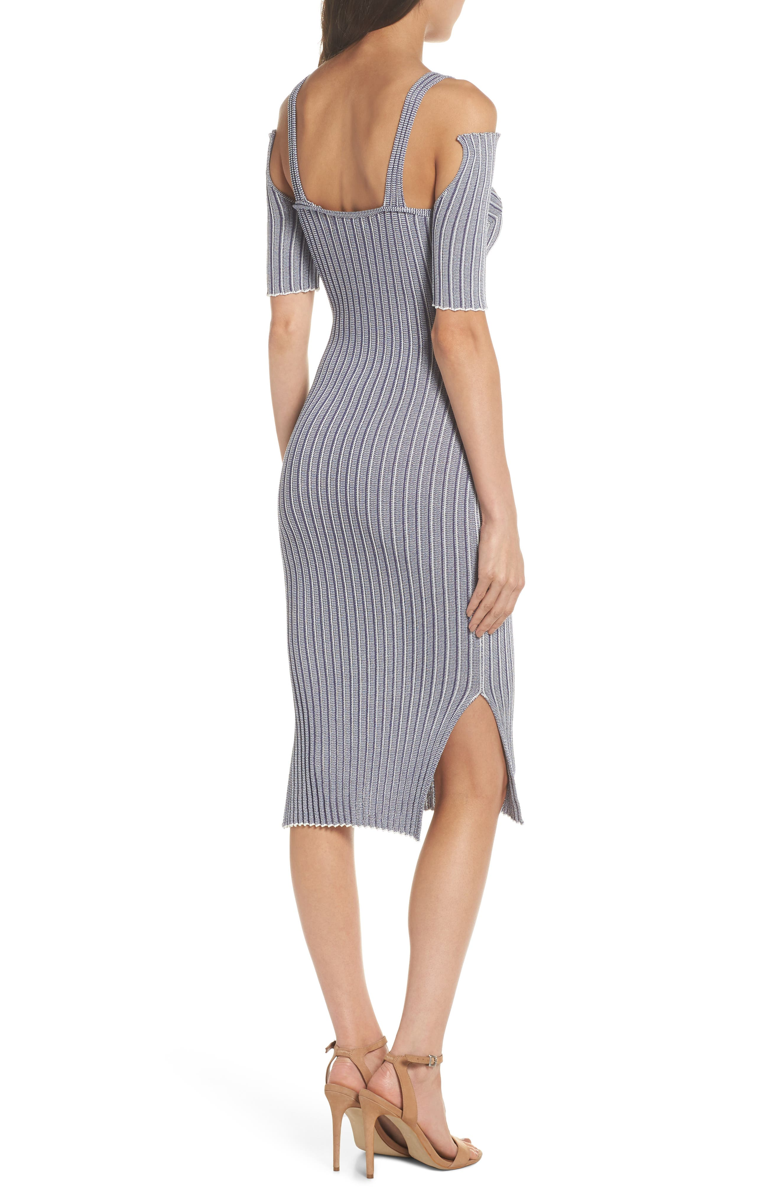 Cold Shoulder Ribbed Knit Body-Con Dress,                             Alternate thumbnail 2, color,                             020
