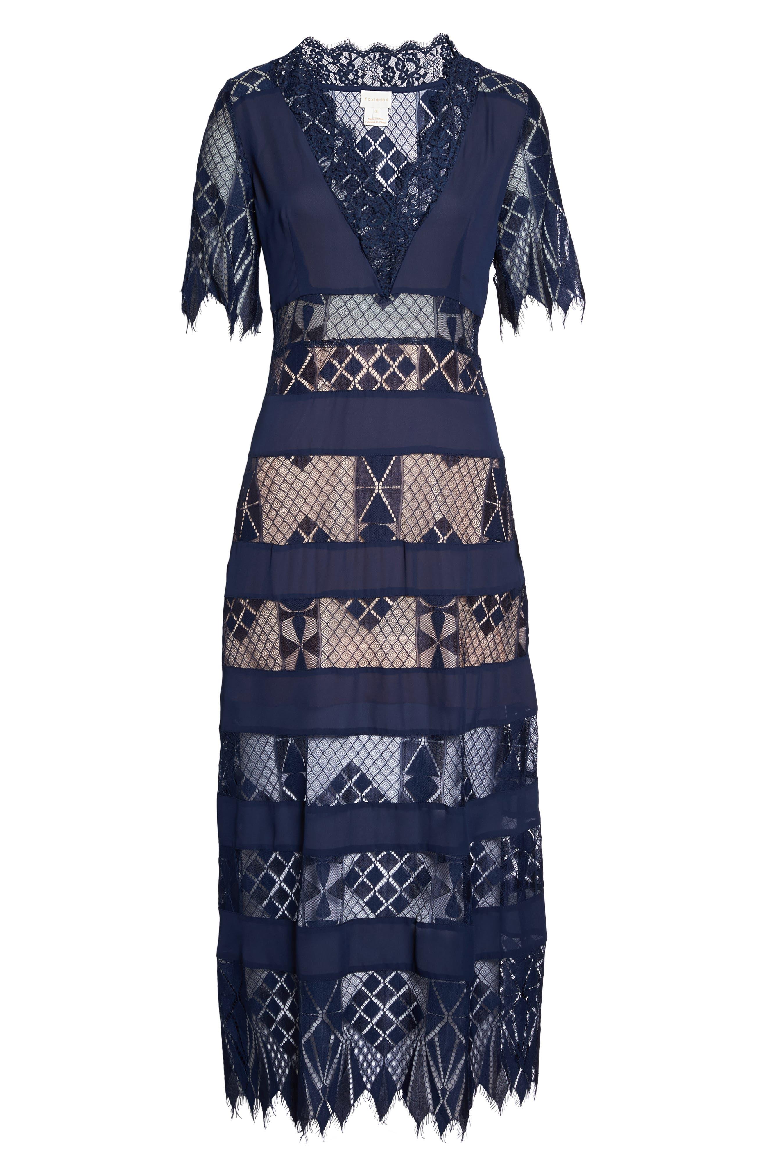 Bravo Zulu Lacy Paneled Dress,                             Alternate thumbnail 6, color,                             414