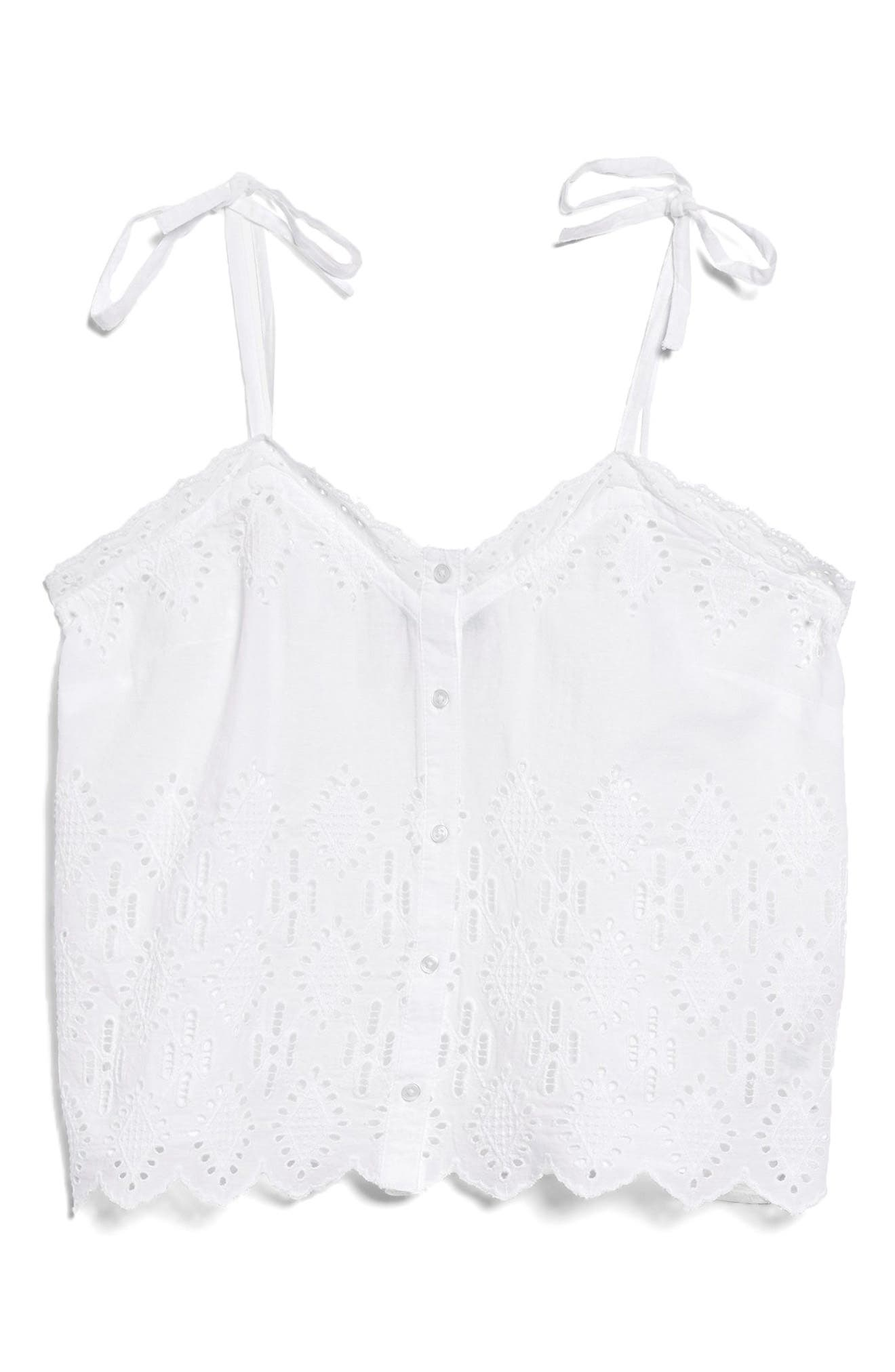Broderie Camisole Top,                             Alternate thumbnail 9, color,