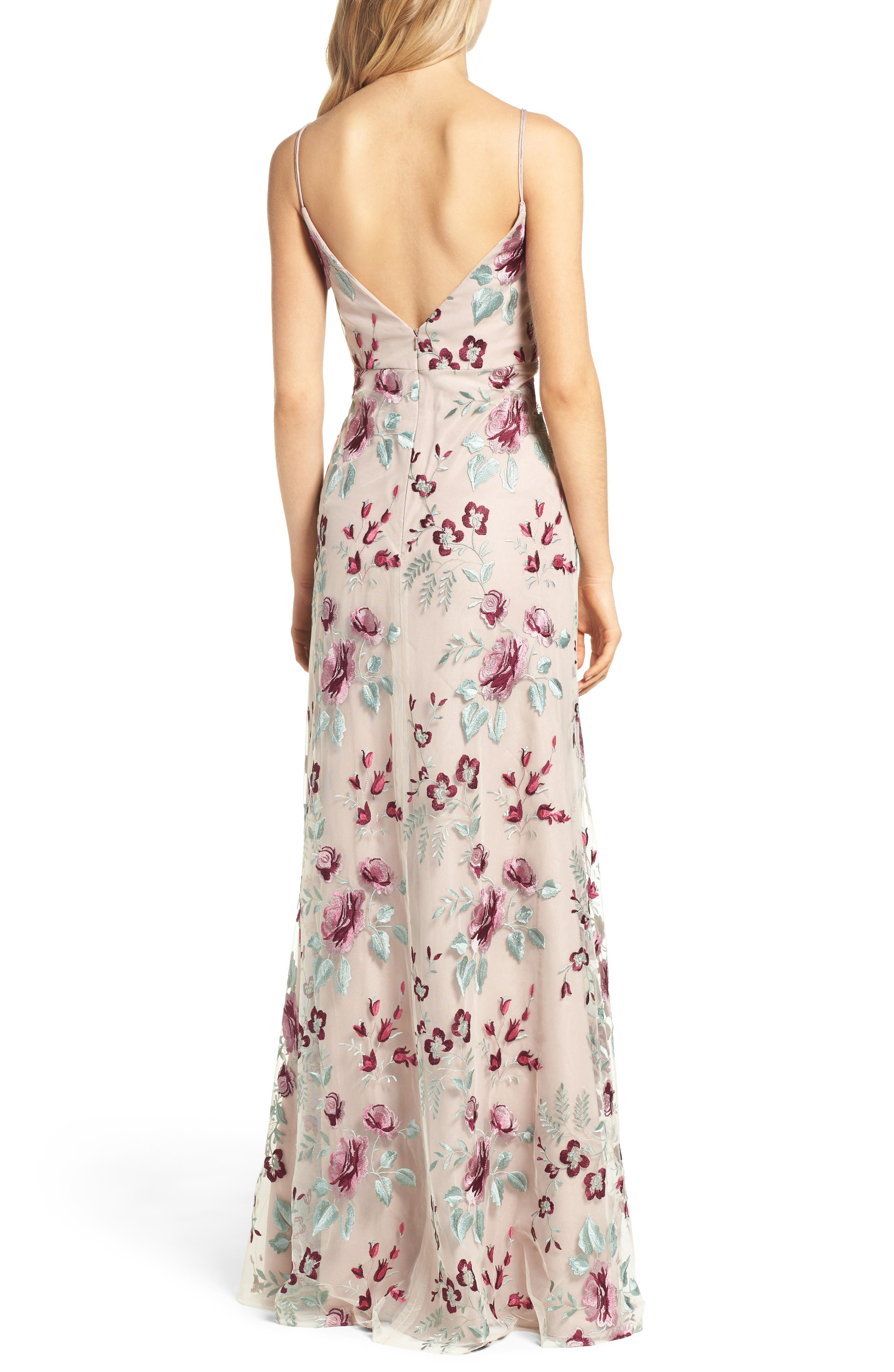 Julianna Embroidered Gown,                             Alternate thumbnail 2, color,                             BERRY VINTAGE IRIS