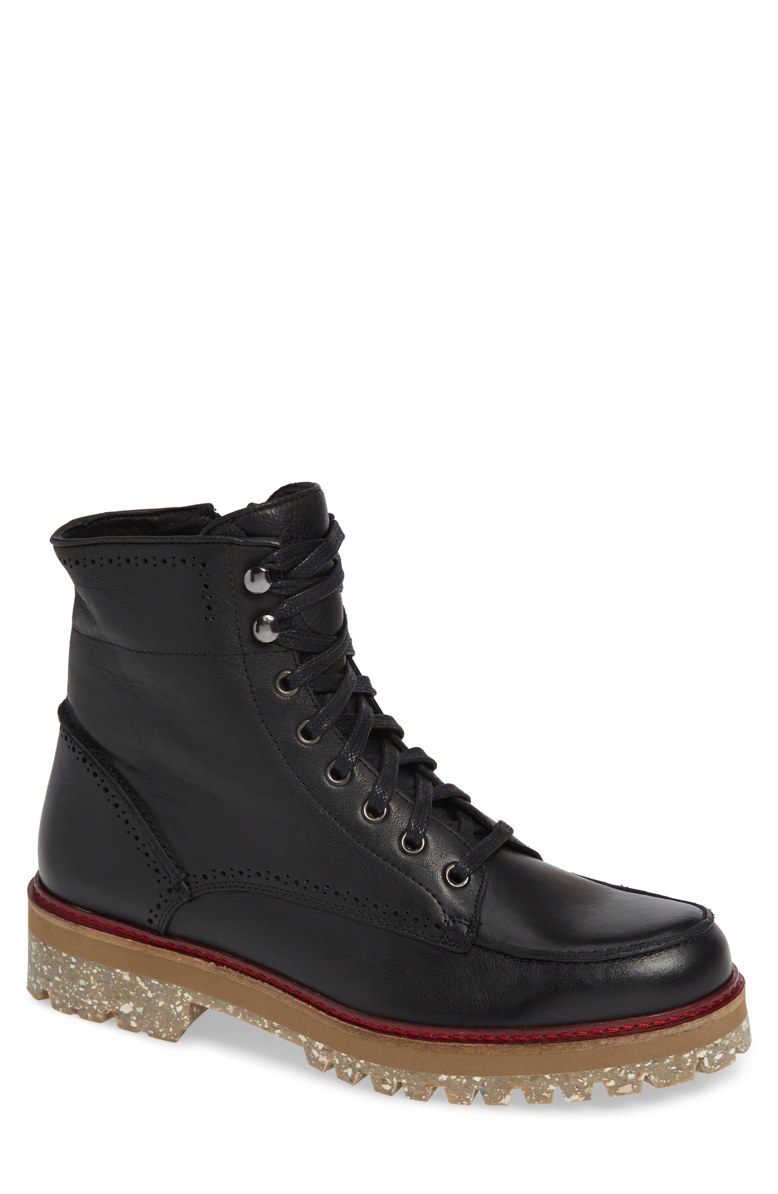 Larz Lugged Moc Toe Boot,                         Main,                         color, BLACK