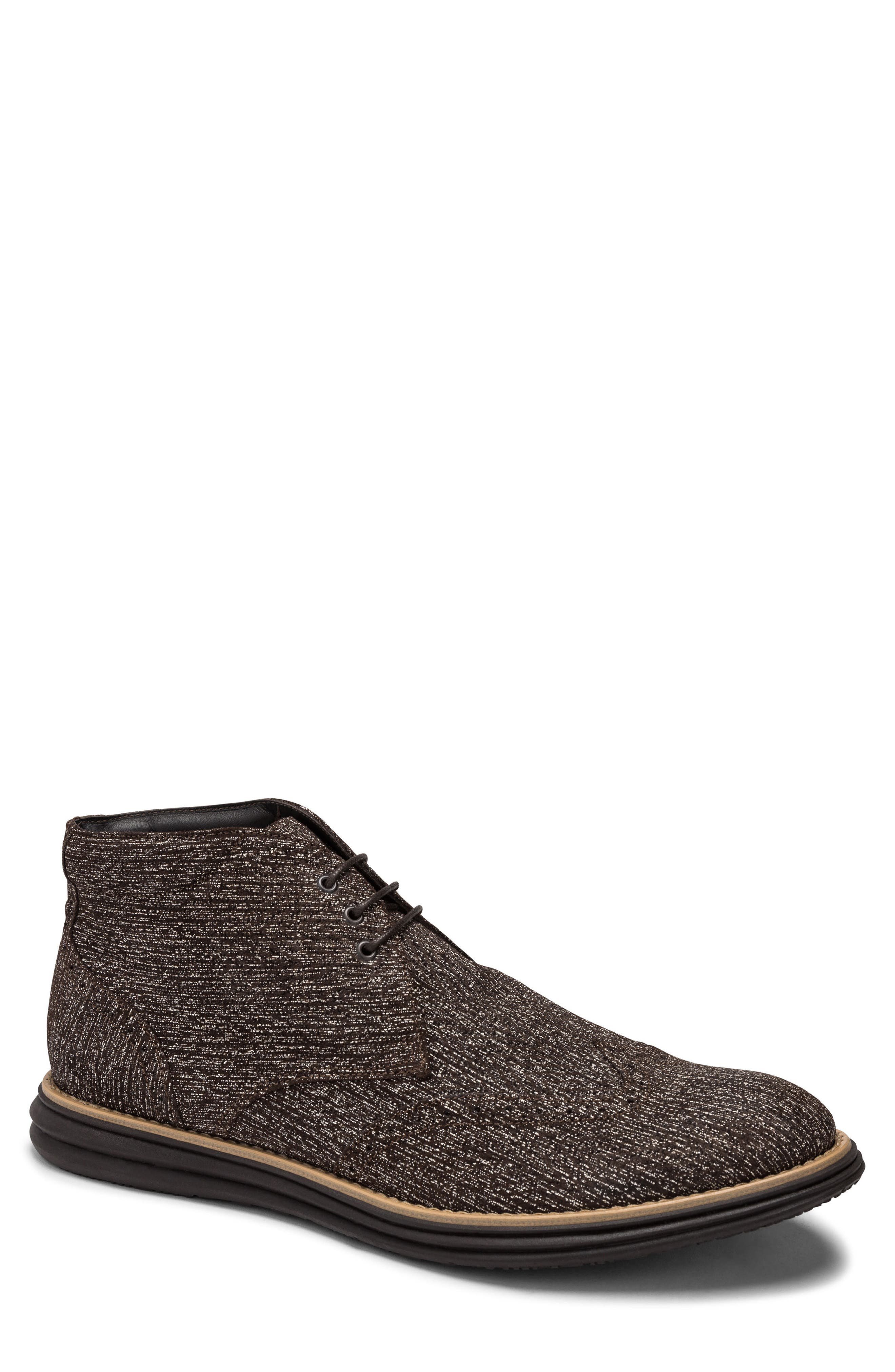 men's bugatchi textured wingtip chukka boot, size 12 m - brown