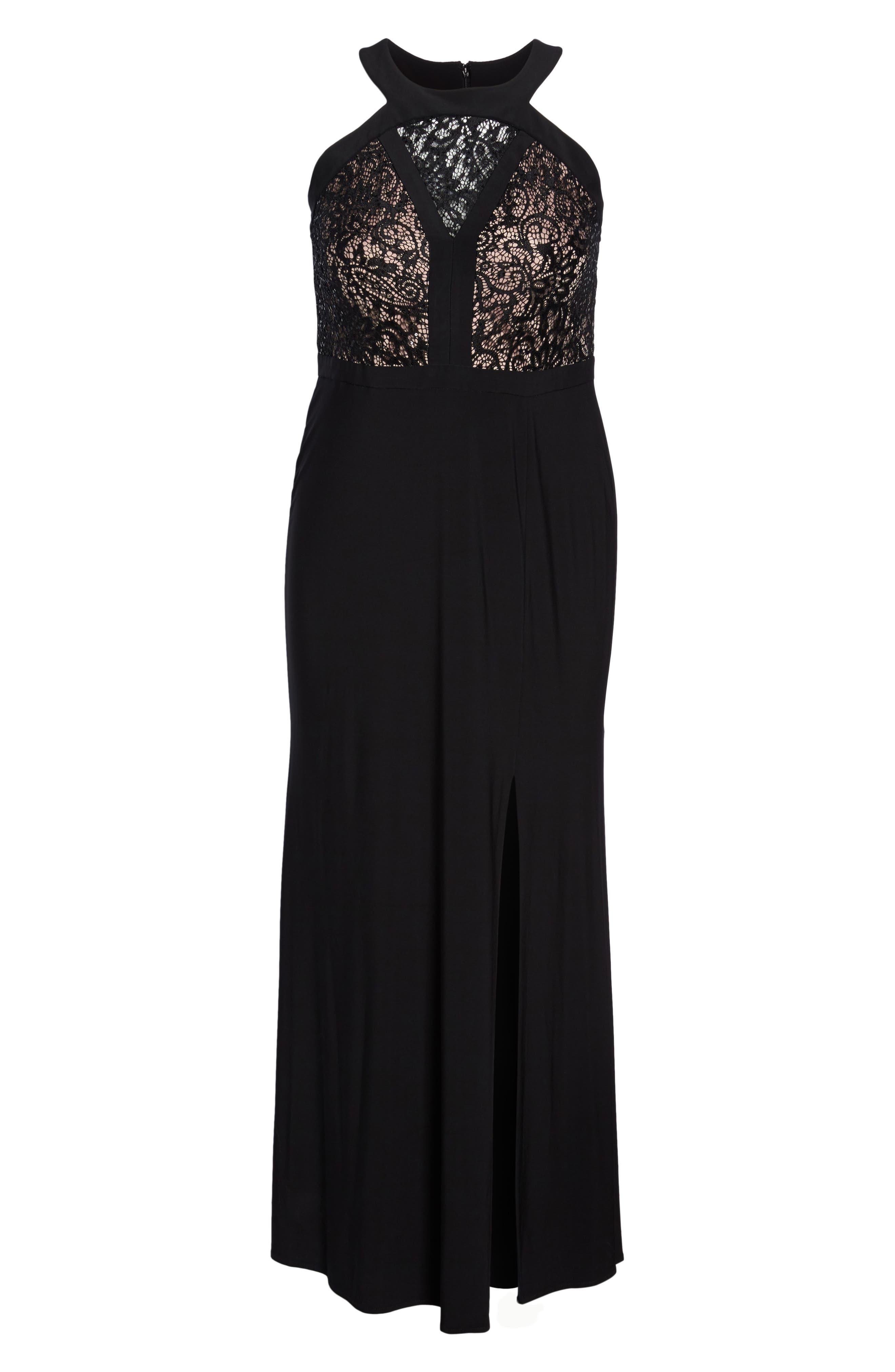 MORGAN & CO.,                             Lace Bodice Dress,                             Alternate thumbnail 6, color,                             BLACK/ NUDE