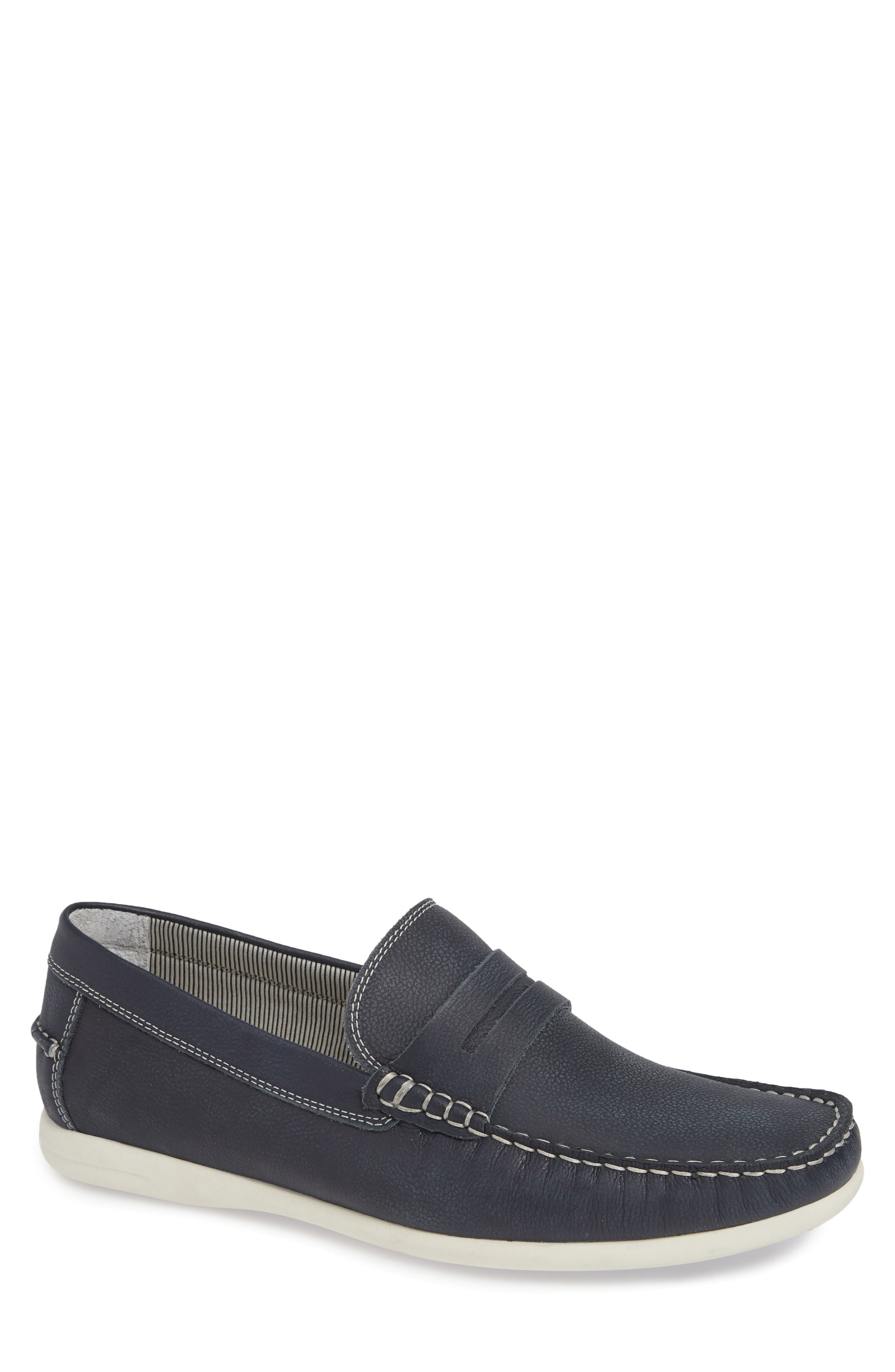 Napa Penny Loafer,                         Main,                         color, NAVY LEATHER