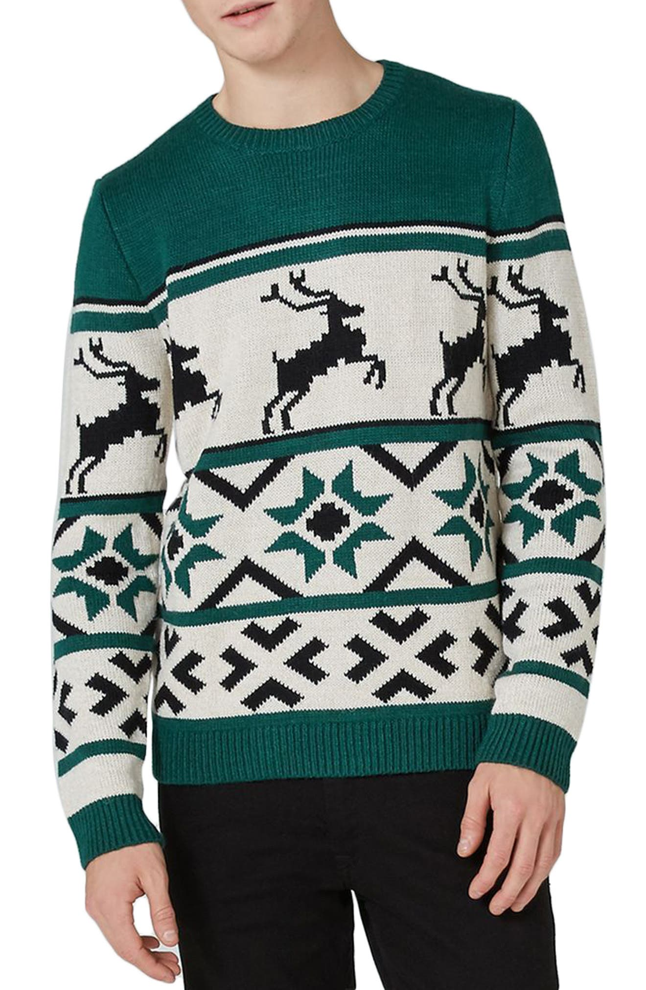 Fair Isle Reindeer Sweater, Main, color, 300