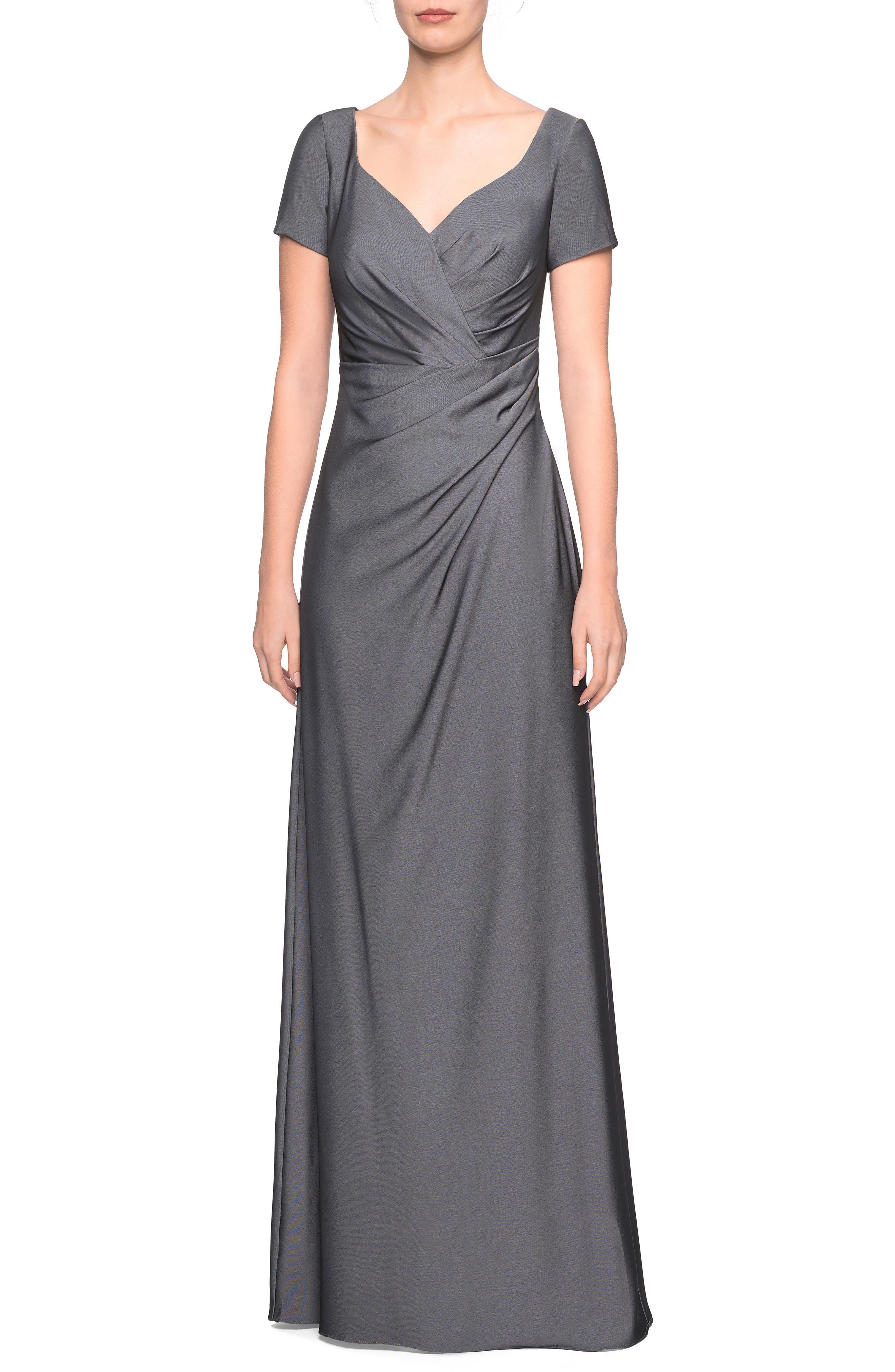 La Femme Sweetheart Neck Jersey Evening Dress, Grey