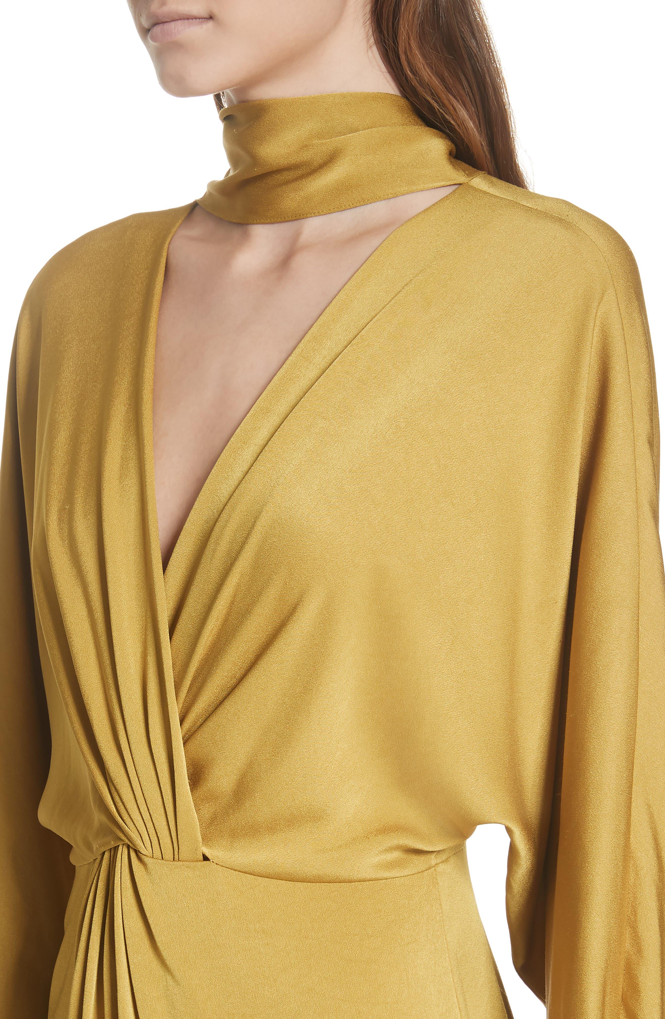 Twist Front Faux Wrap Dress,                             Alternate thumbnail 4, color,                             710