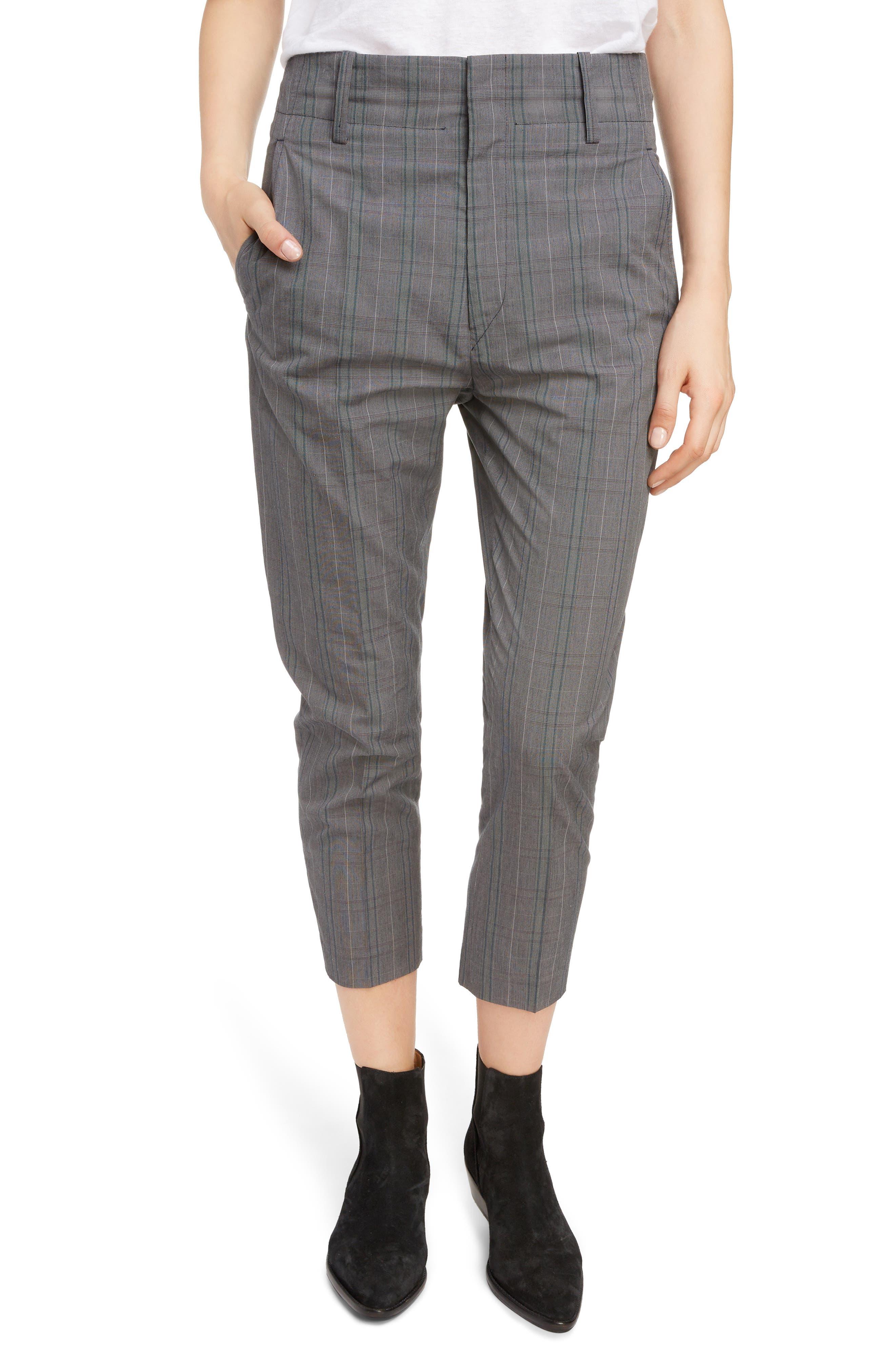 Noah Plaid Crop Pants, Main, color, ANTHRACITE