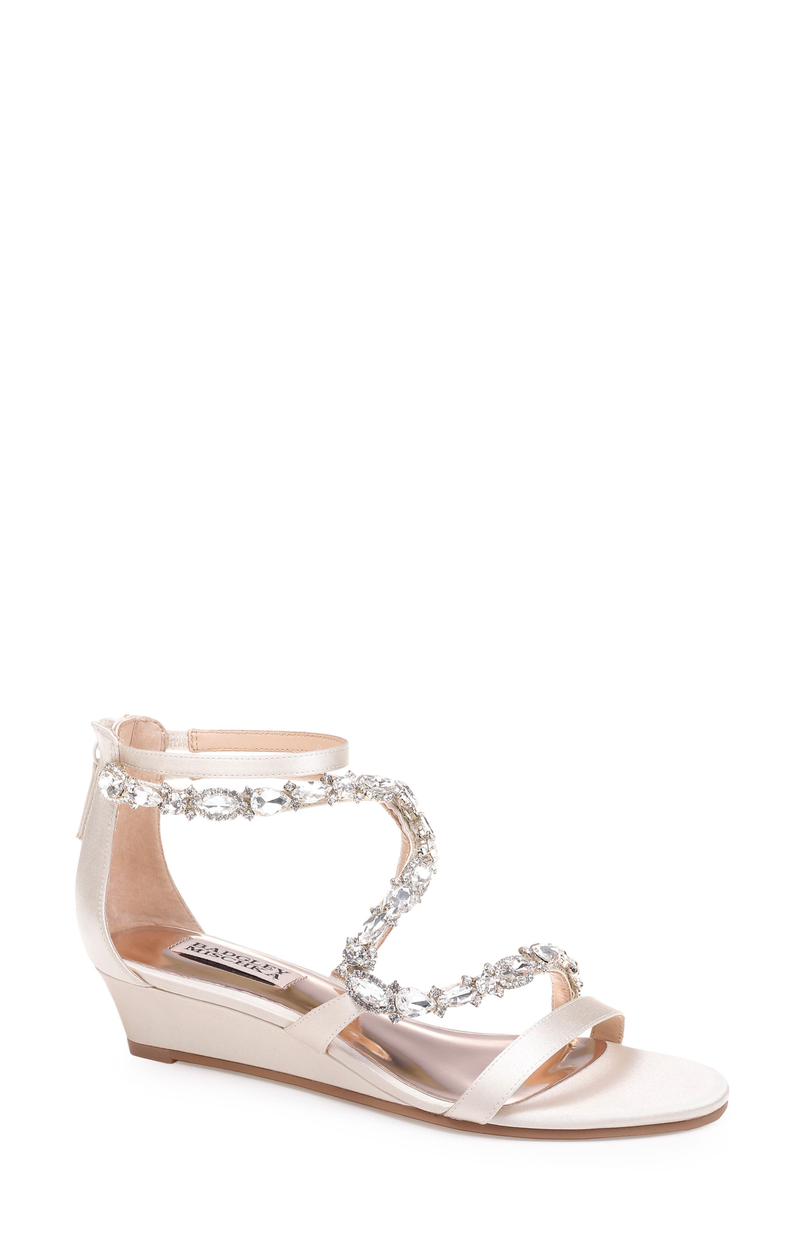 Sierra Strappy Wedge Sandal,                             Main thumbnail 1, color,                             IVORY SATIN