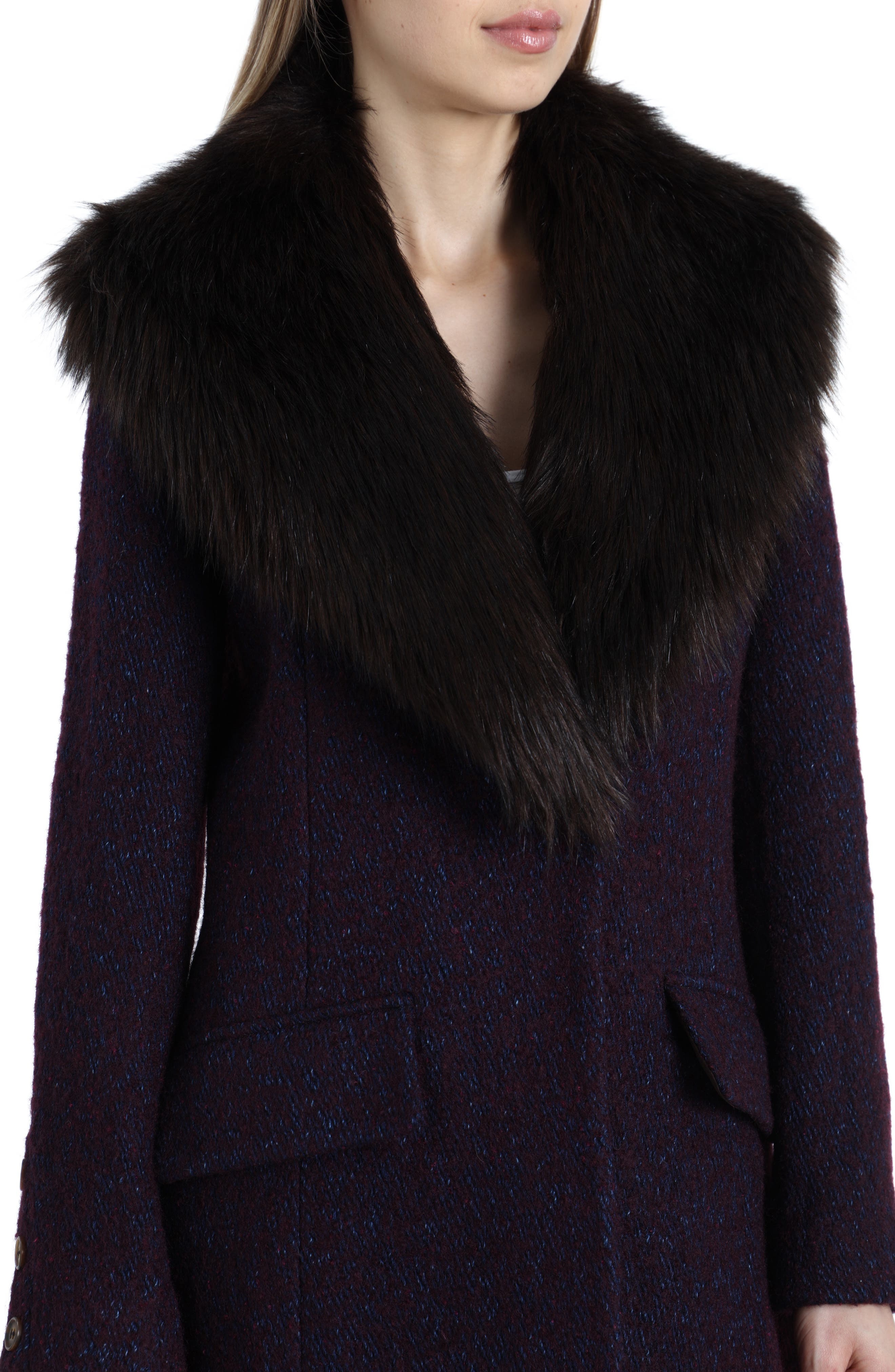 'Holly' Faux Fur Collar Bouclé Coat,                             Alternate thumbnail 4, color,                             BURGUNDY/ NAVY