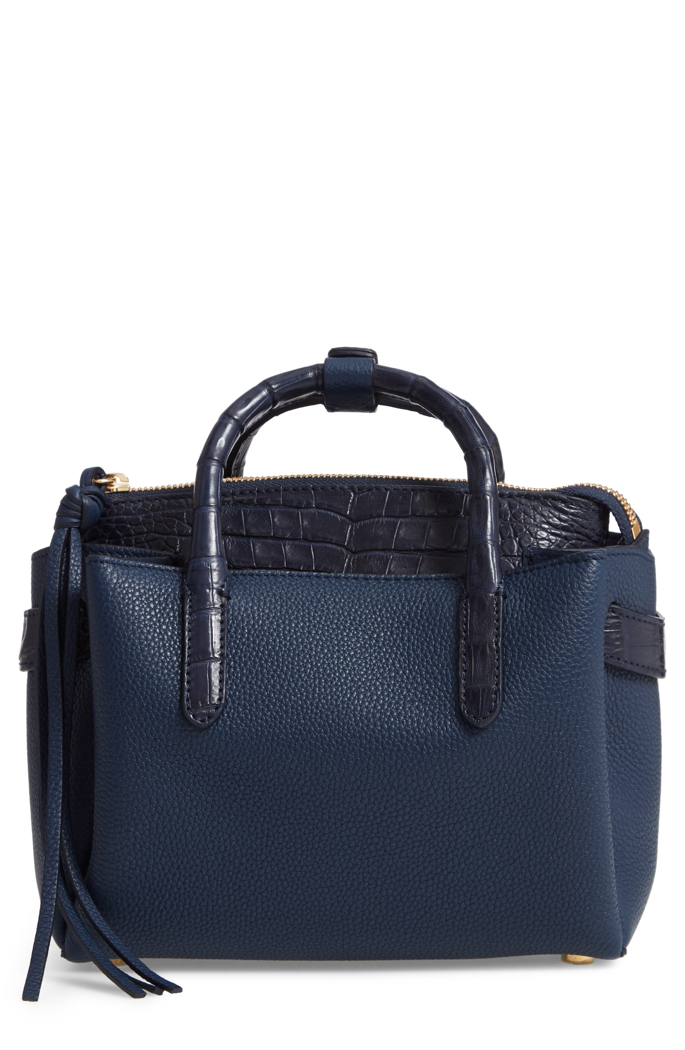 Mini Cristie Leather & Genuine Crocodile Satchel, Main, color, DARK NAVY