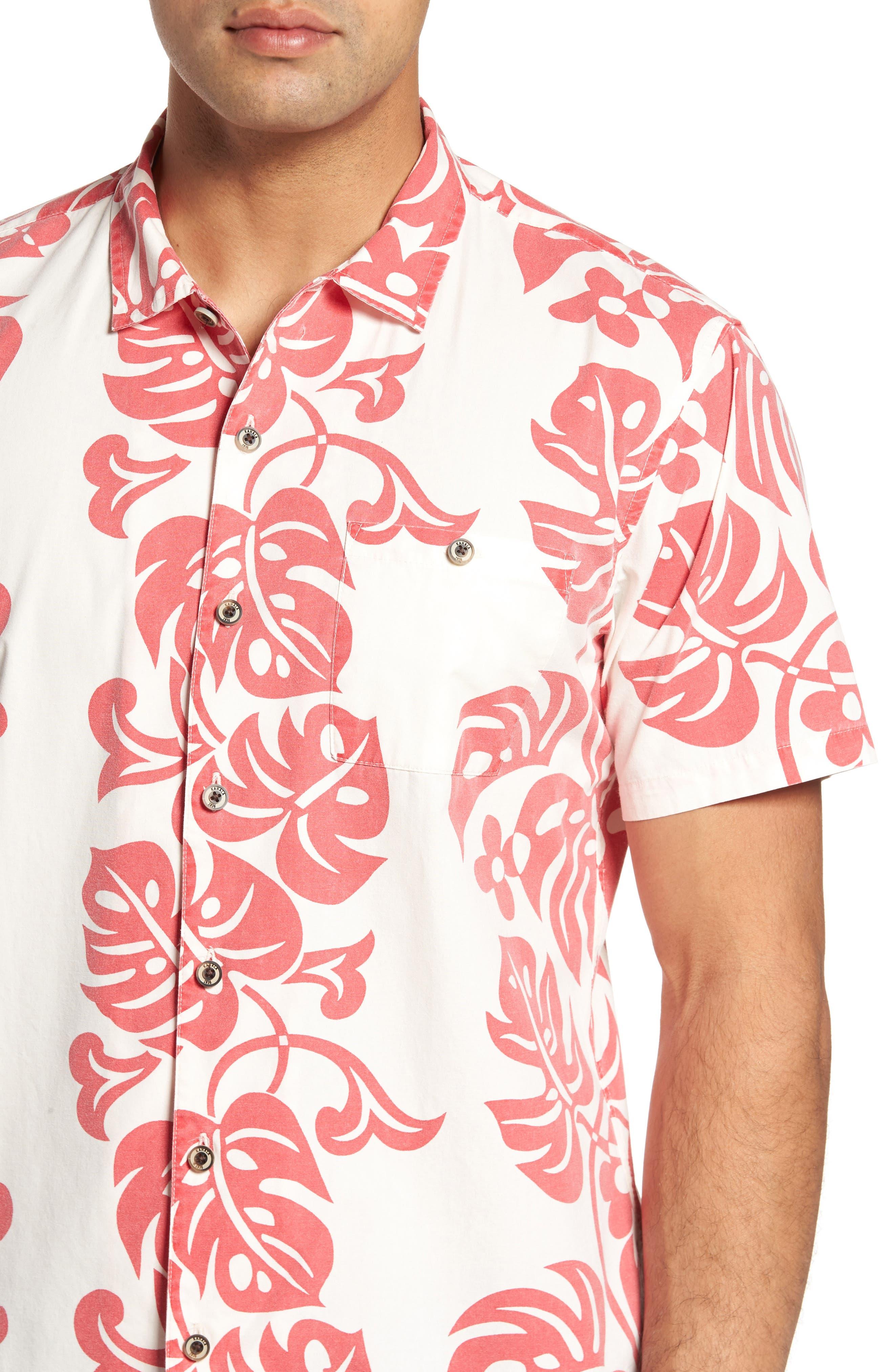 Malama Trim Fit Print Sport Shirt,                             Alternate thumbnail 4, color,