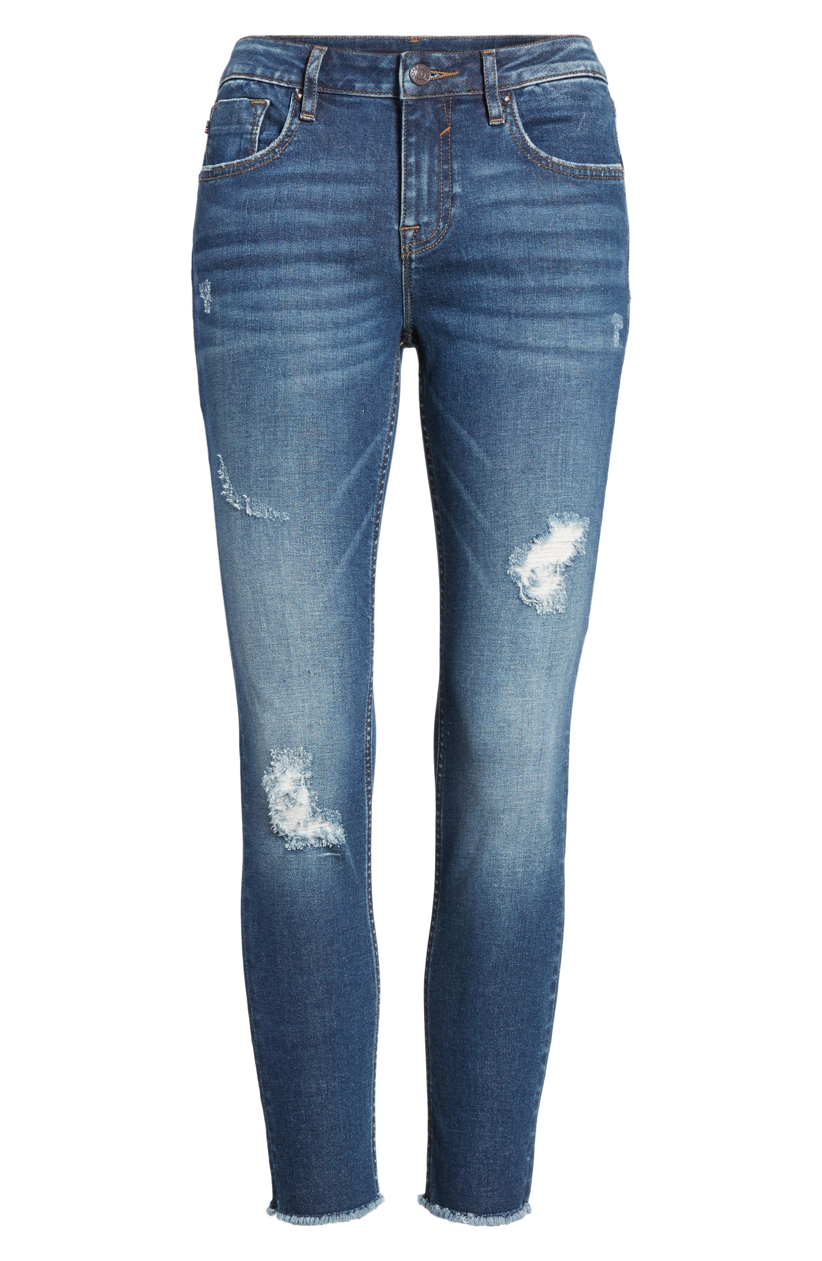 Whatever Distressed Ankle Skinny Jeans,                             Alternate thumbnail 6, color,                             426