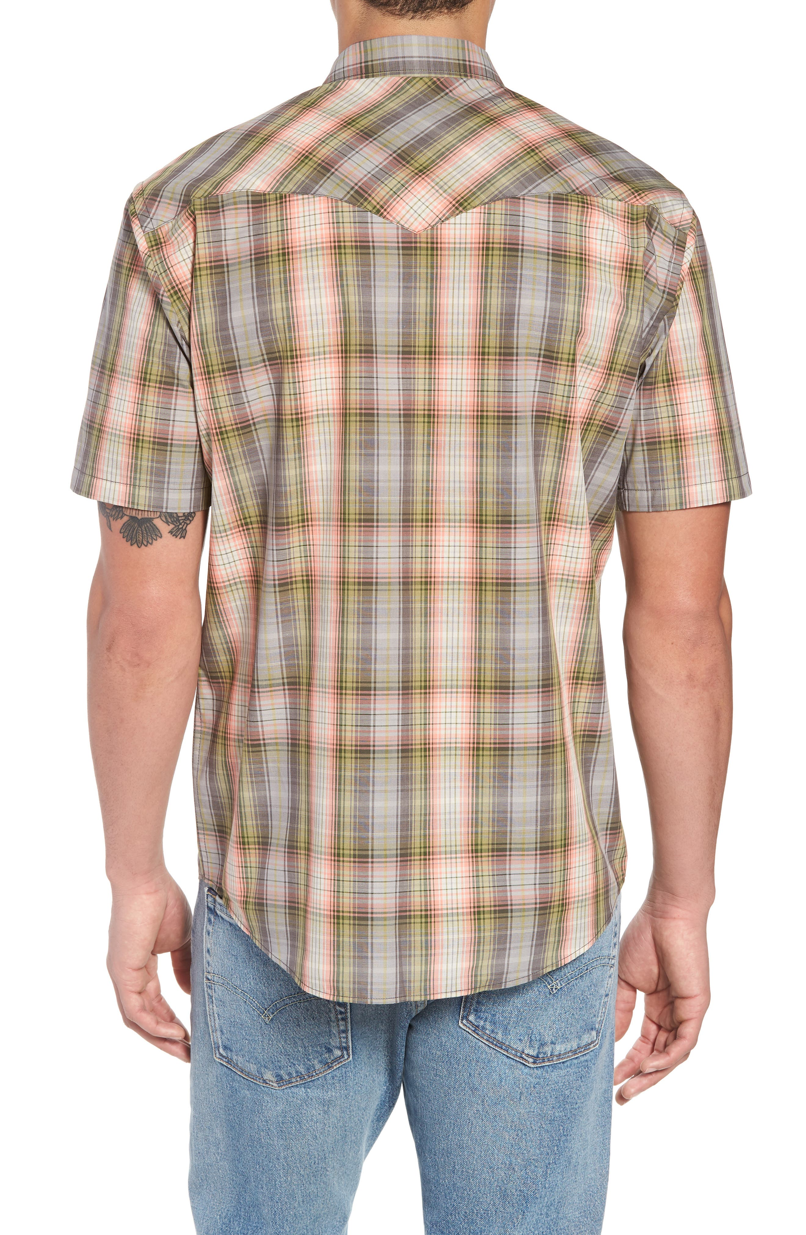 Frontier Regular Fit Plaid Short Sleeve Sport Shirt,                             Alternate thumbnail 3, color,