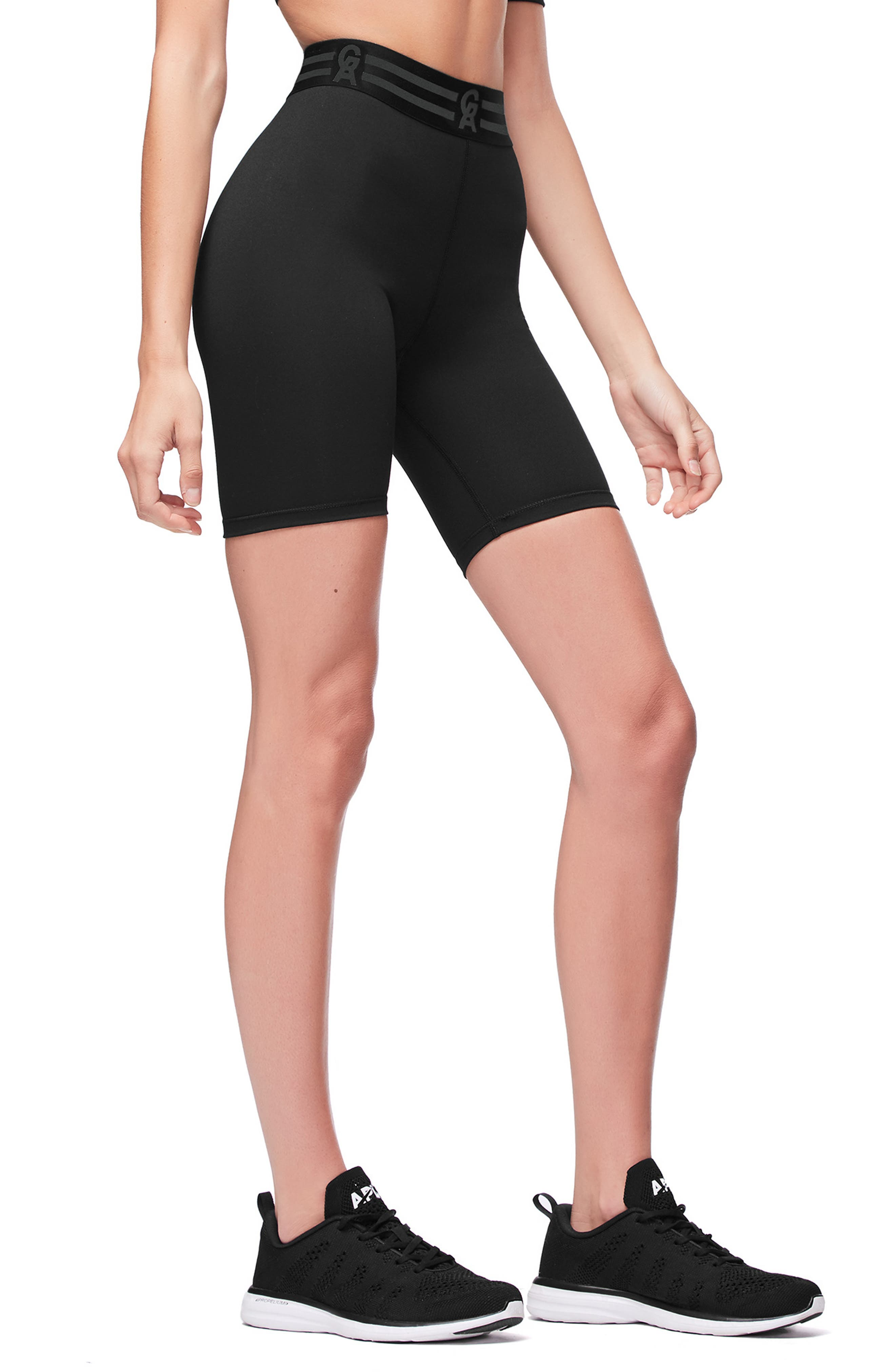 Icon High Waist Biker Shorts,                             Alternate thumbnail 4, color,                             BLACK001