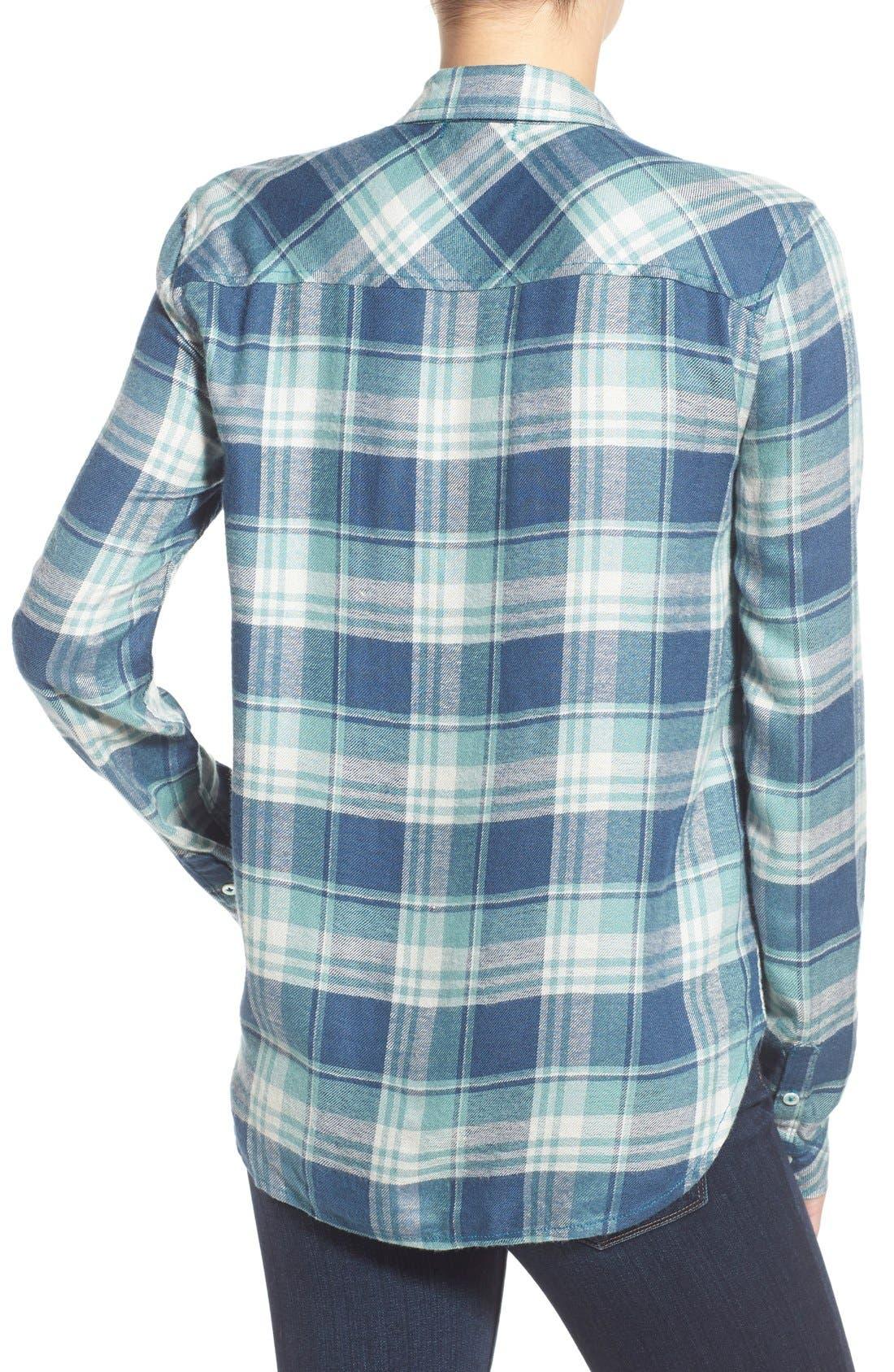PAIGE,                             Denim 'Trudy' Plaid Shirt,                             Alternate thumbnail 4, color,                             423