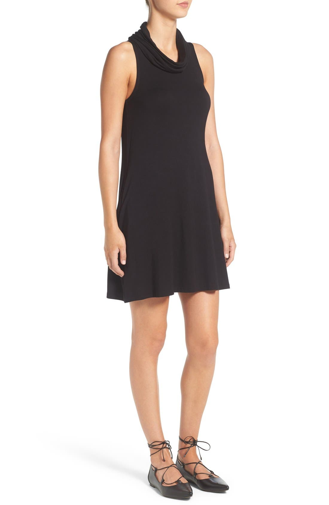 Cowl Neck Shift Dress,                             Alternate thumbnail 3, color,                             001