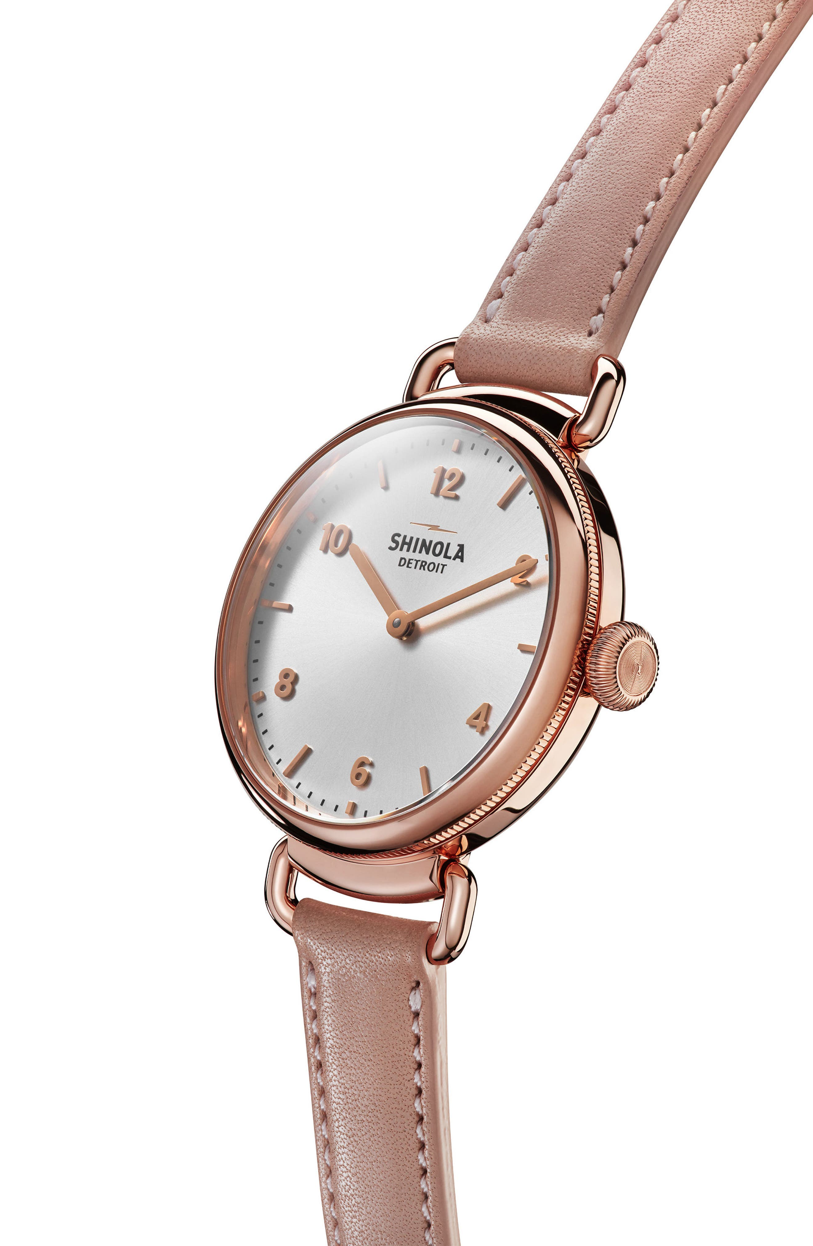 Canfield Leather Strap Watch, 32mm,                             Alternate thumbnail 3, color,                             BLUSH/ SILVER/ ROSE GOLD
