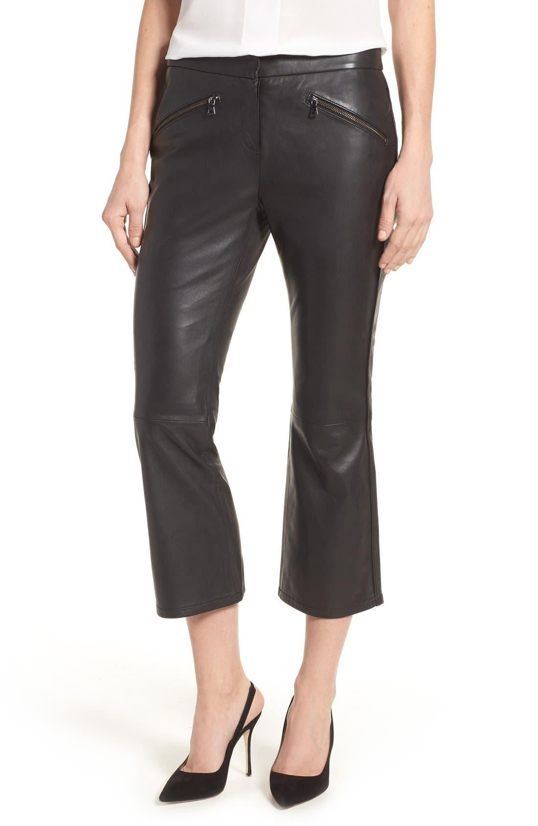 Crop Flare Leather Pants,                             Alternate thumbnail 9, color,                             001