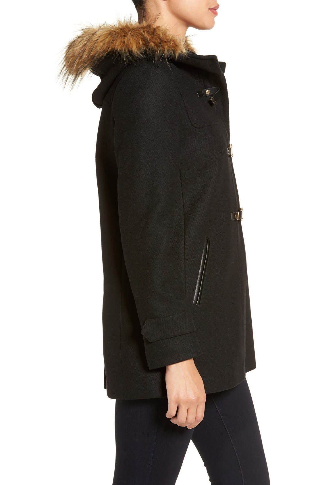 Cole Haan Hooded Duffle Coat with Faux Fur Trim,                             Alternate thumbnail 3, color,                             BLACK