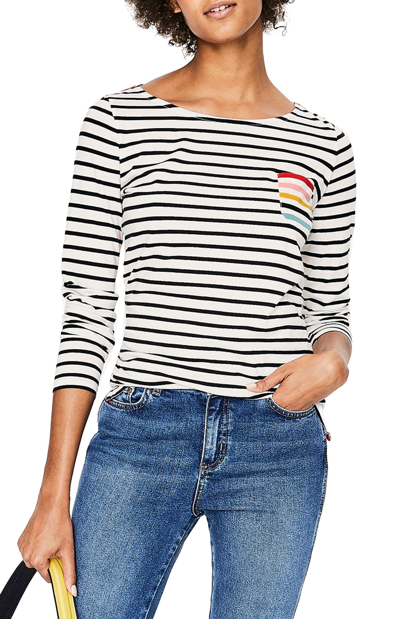 Breton Stripe Colorblock Top,                             Main thumbnail 1, color,                             RAINBOW MULTI STRIPE