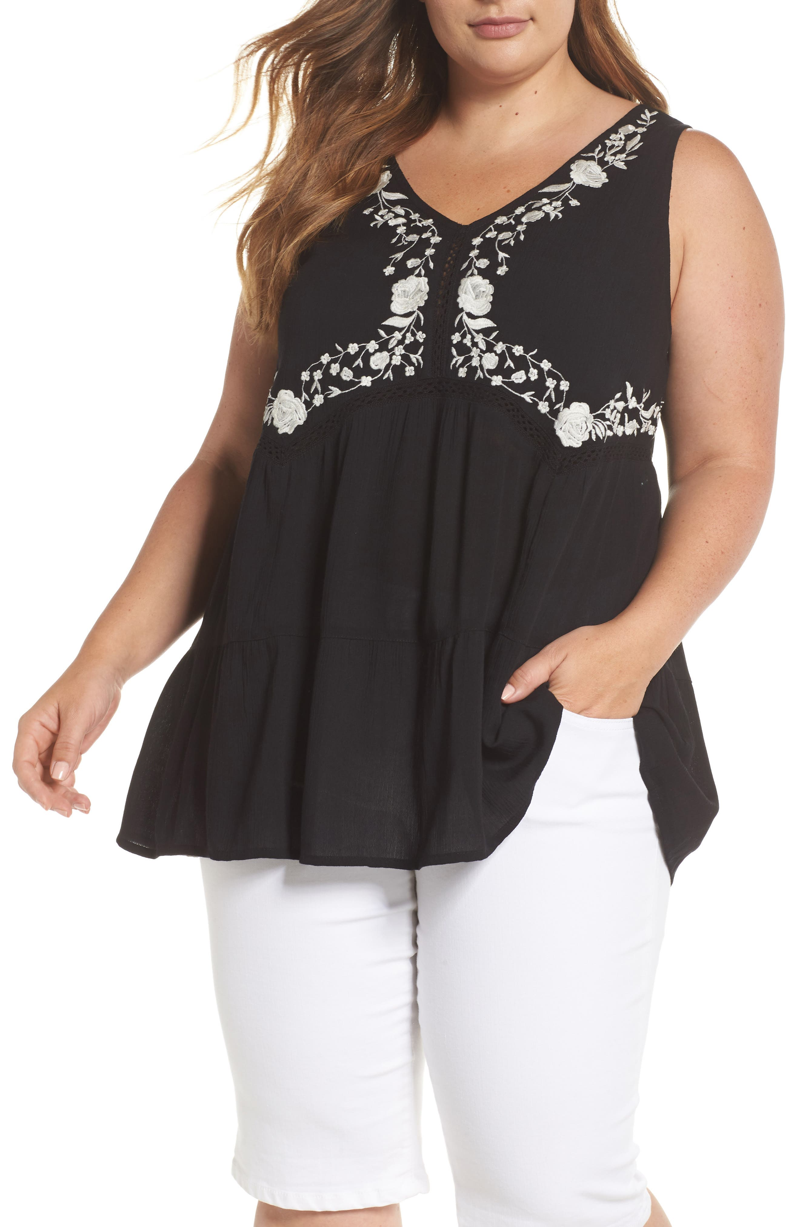ANGIE,                             Embroidered Woven Tank,                             Main thumbnail 1, color,                             001