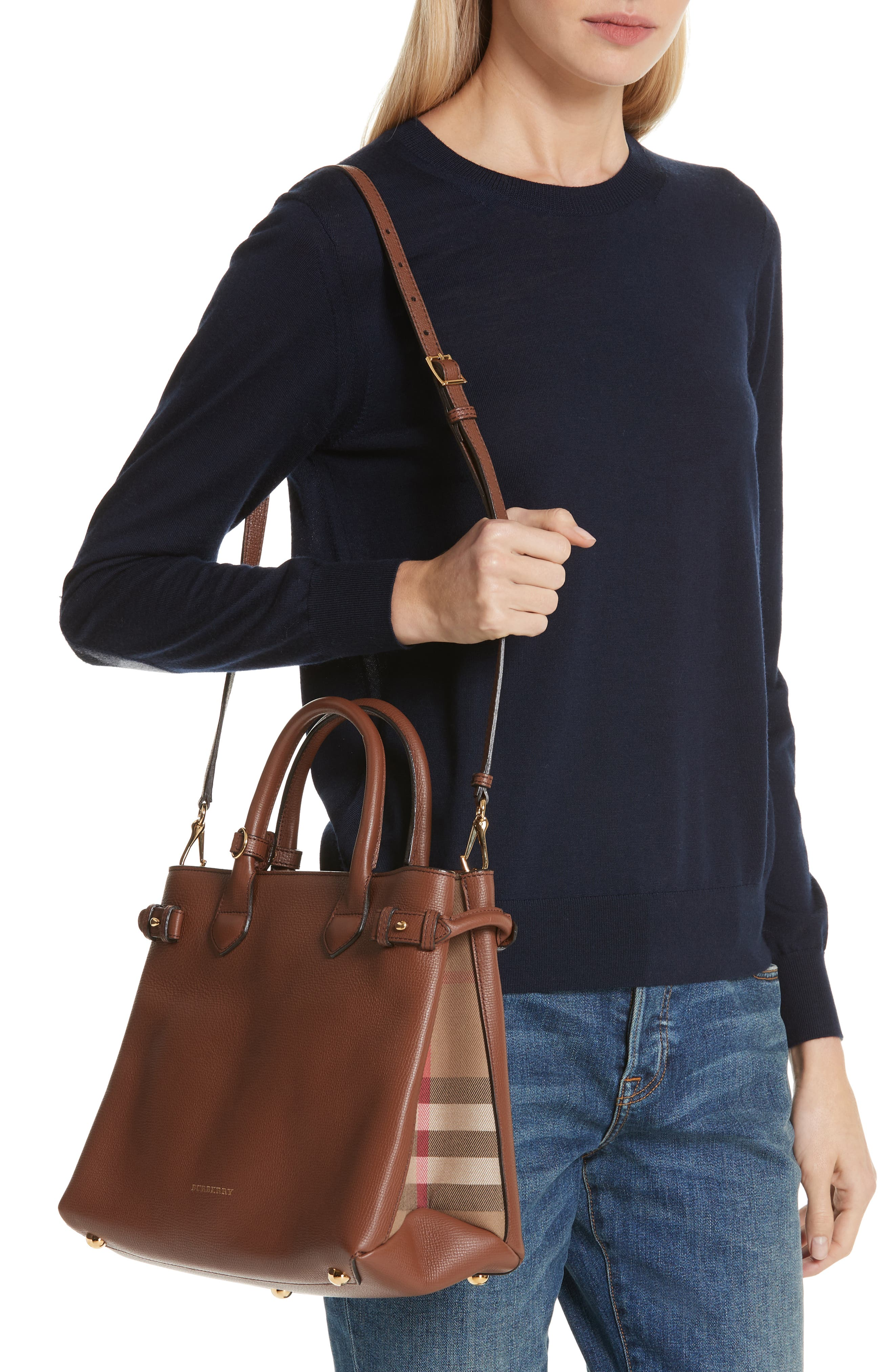 Medium Banner House Check Leather Tote,                             Alternate thumbnail 2, color,                             251