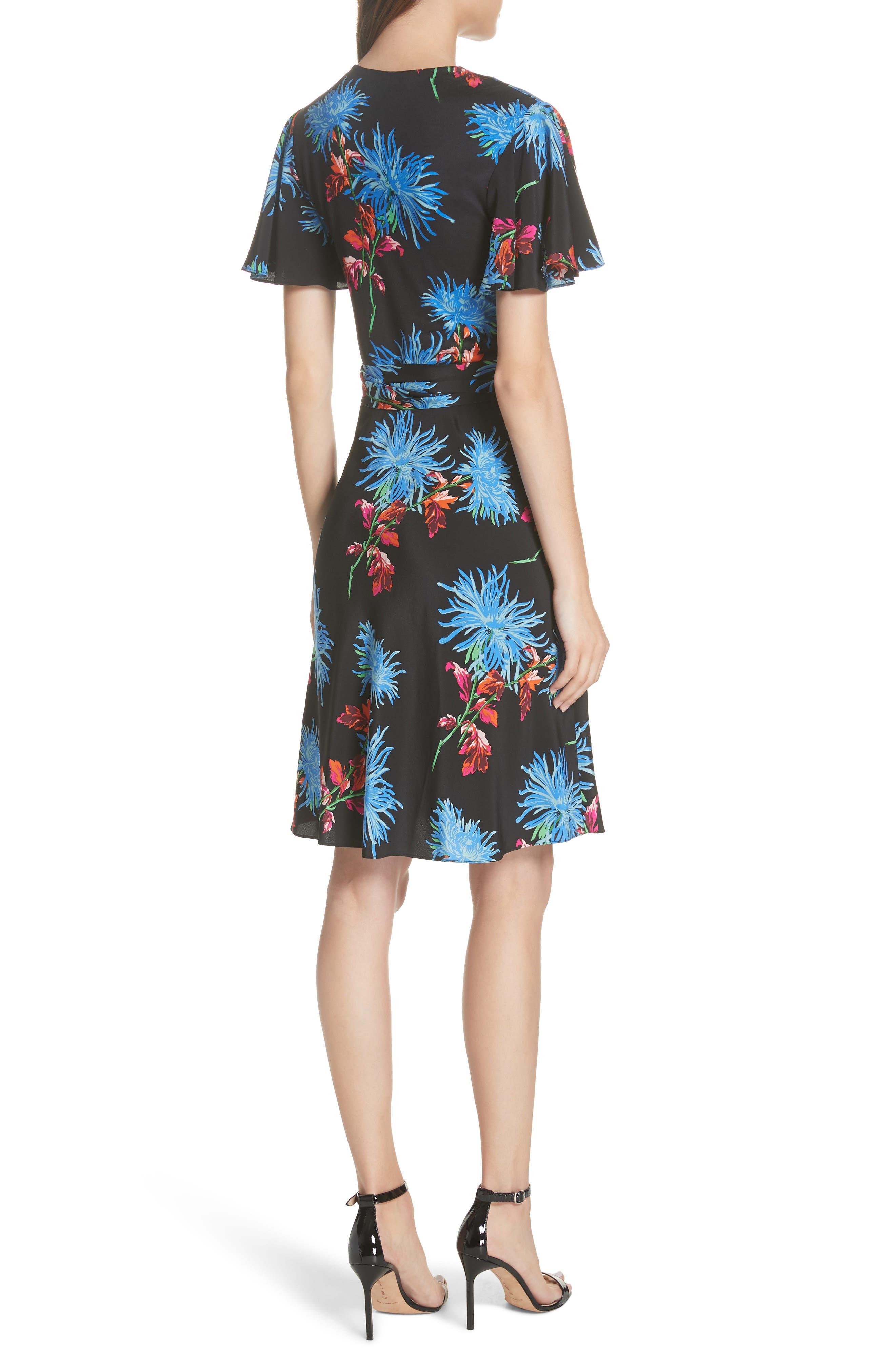 Diane von Furstenberg Flutter Sleeve Silk Wrap Dress,                             Alternate thumbnail 2, color,                             HEWES BLACK