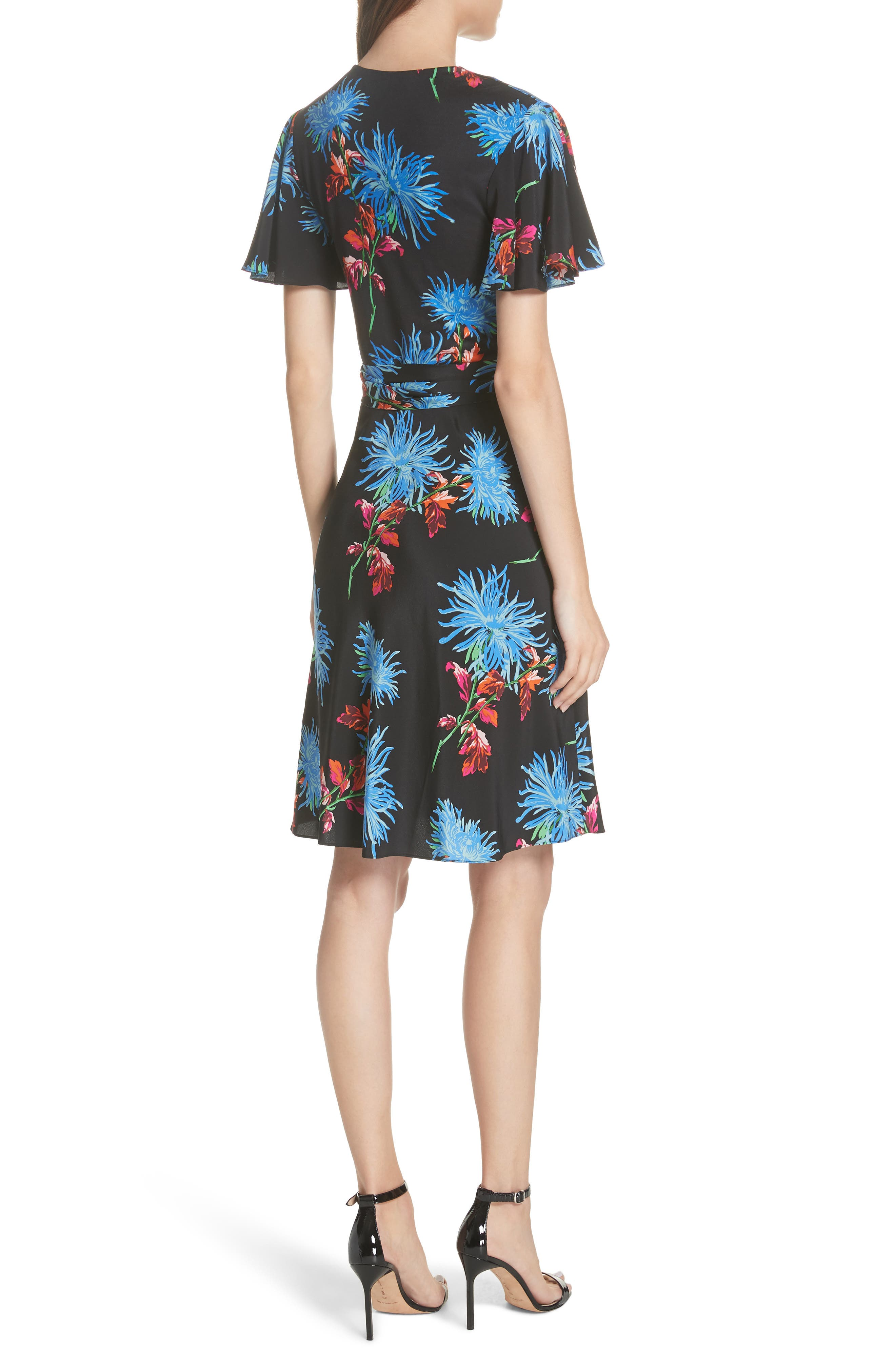 Diane von Furstenberg Flutter Sleeve Silk Wrap Dress,                             Alternate thumbnail 8, color,
