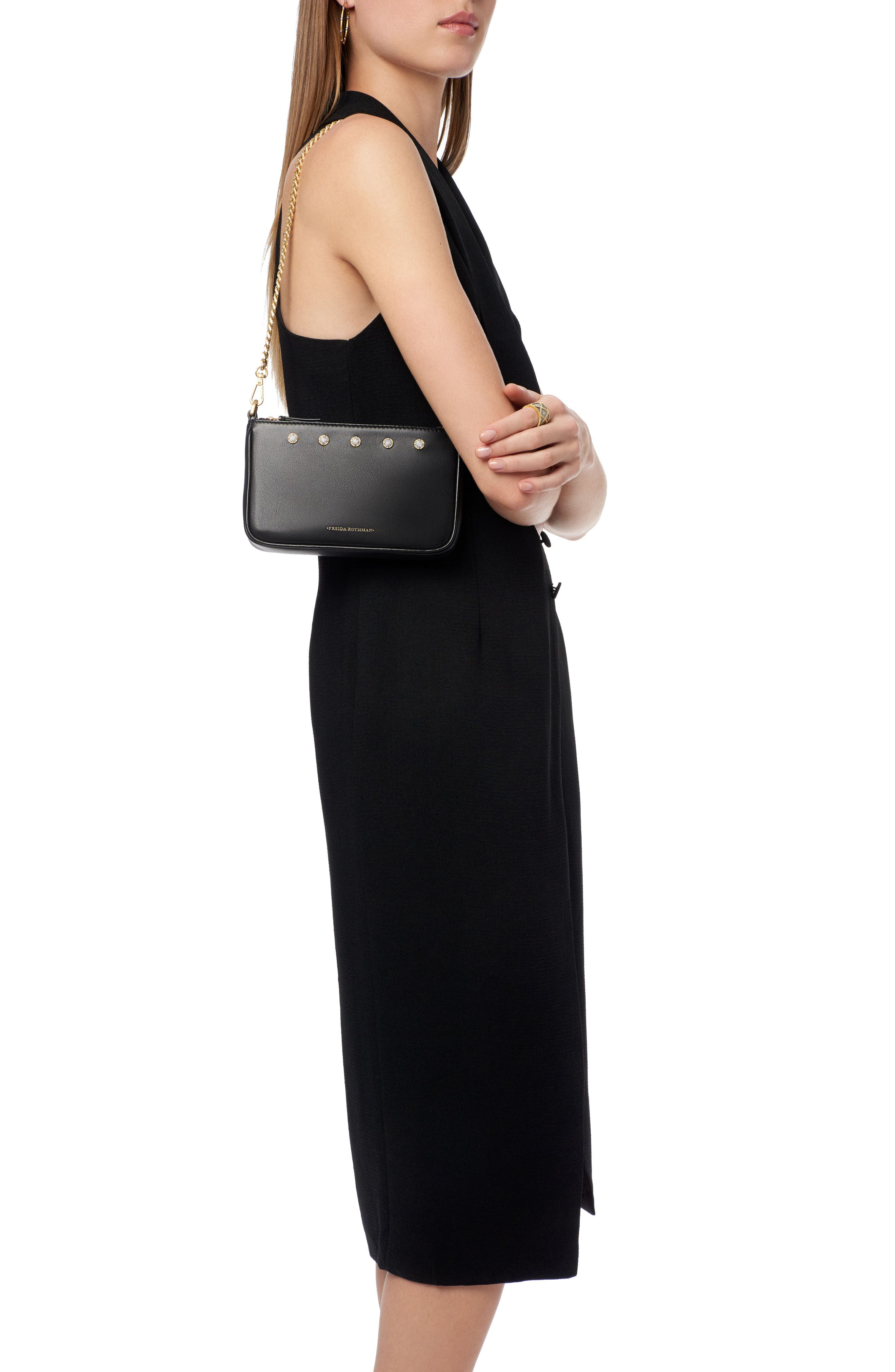 Mini Mercer Leather Shoulder Bag,                             Alternate thumbnail 2, color,                             BLACK