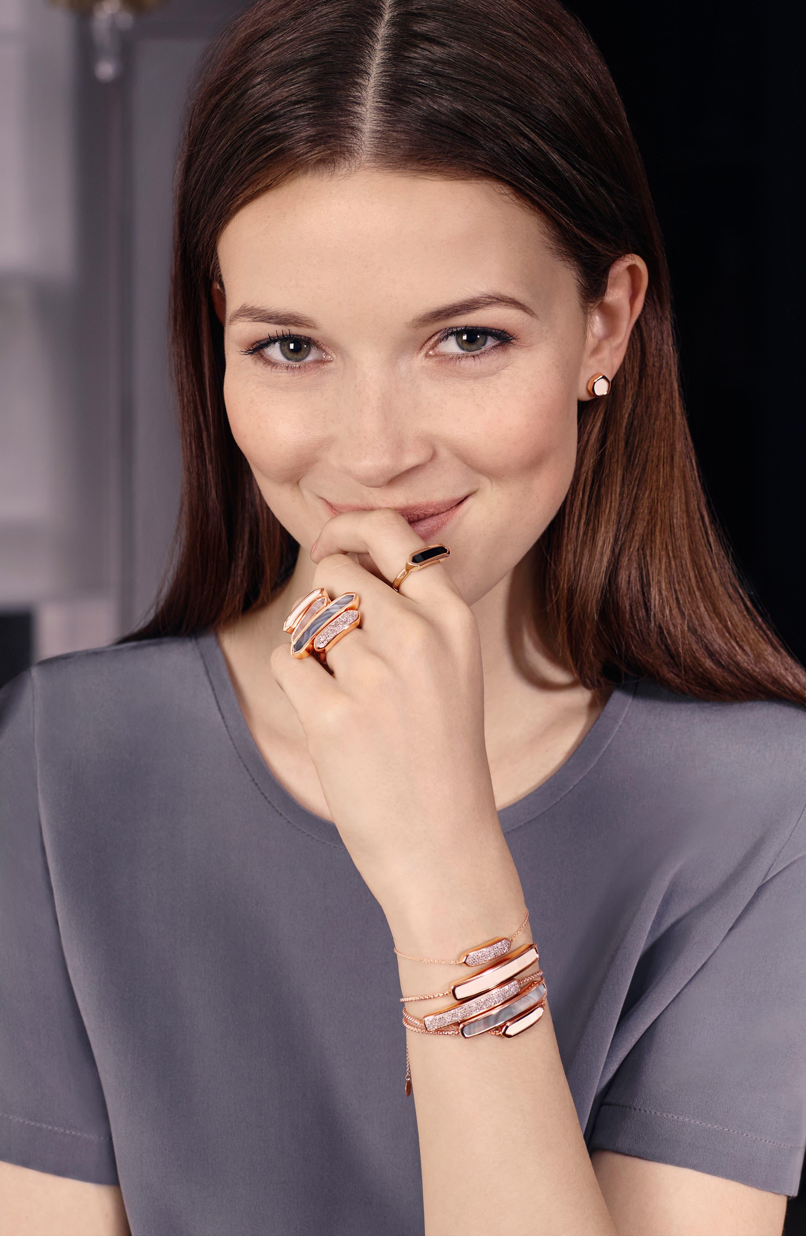 MONICA VINADER,                             Engravable Baja Stone Bracelet,                             Main thumbnail 1, color,                             ROSE GOLD/ GREY