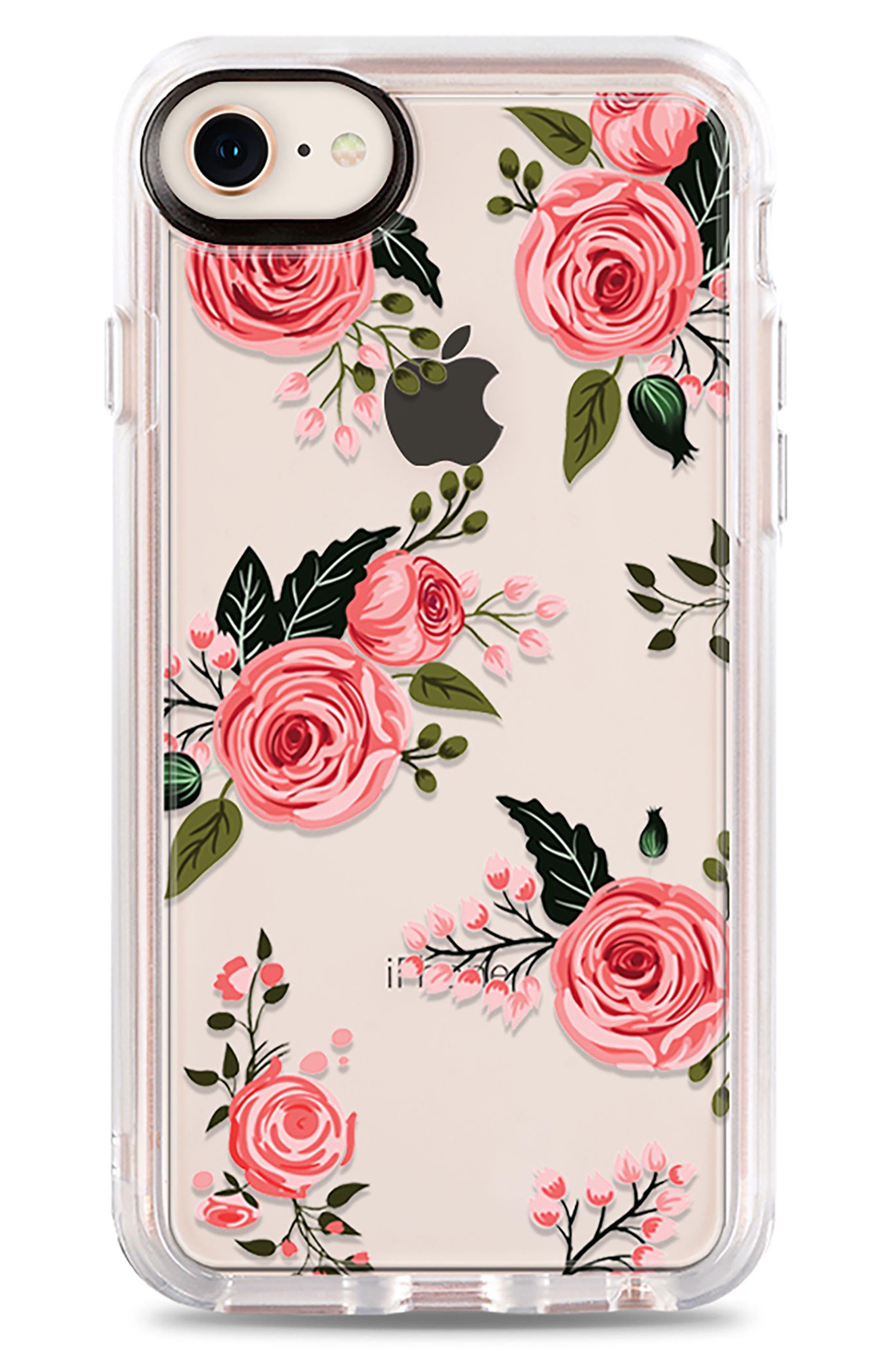 Pink Floral Grip iPhone 7/8 & 7/8 Plus Case,                             Main thumbnail 1, color,                             PINK