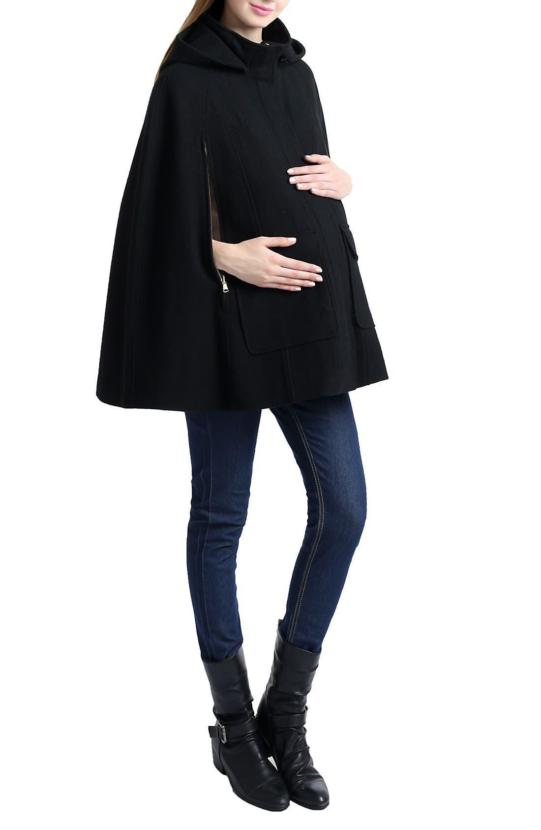 KIMI AND KAI,                             'Robin' Wool Blend Maternity Cape,                             Alternate thumbnail 4, color,                             001