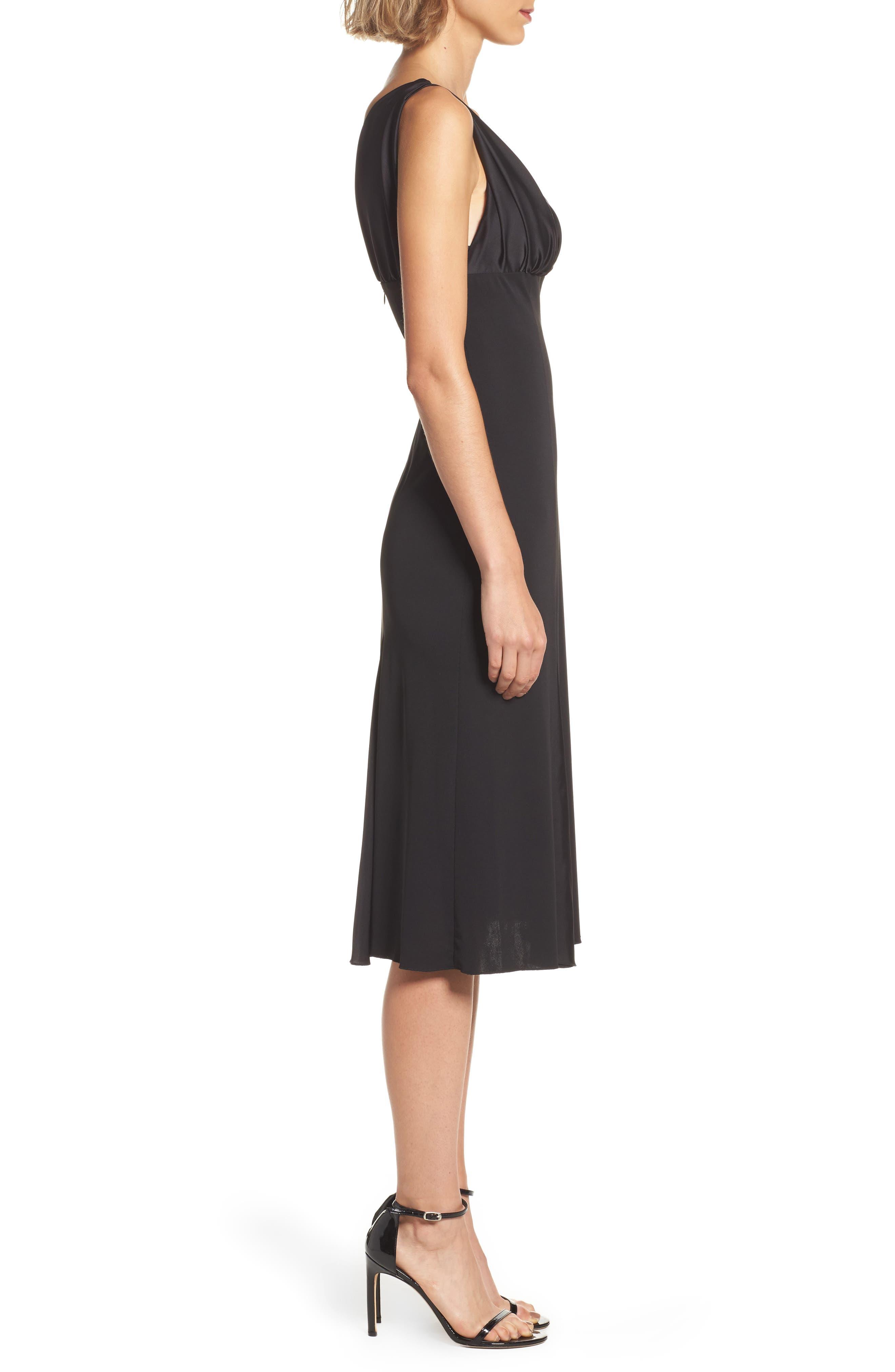 Jersey & Satin Dress,                             Alternate thumbnail 3, color,                             001