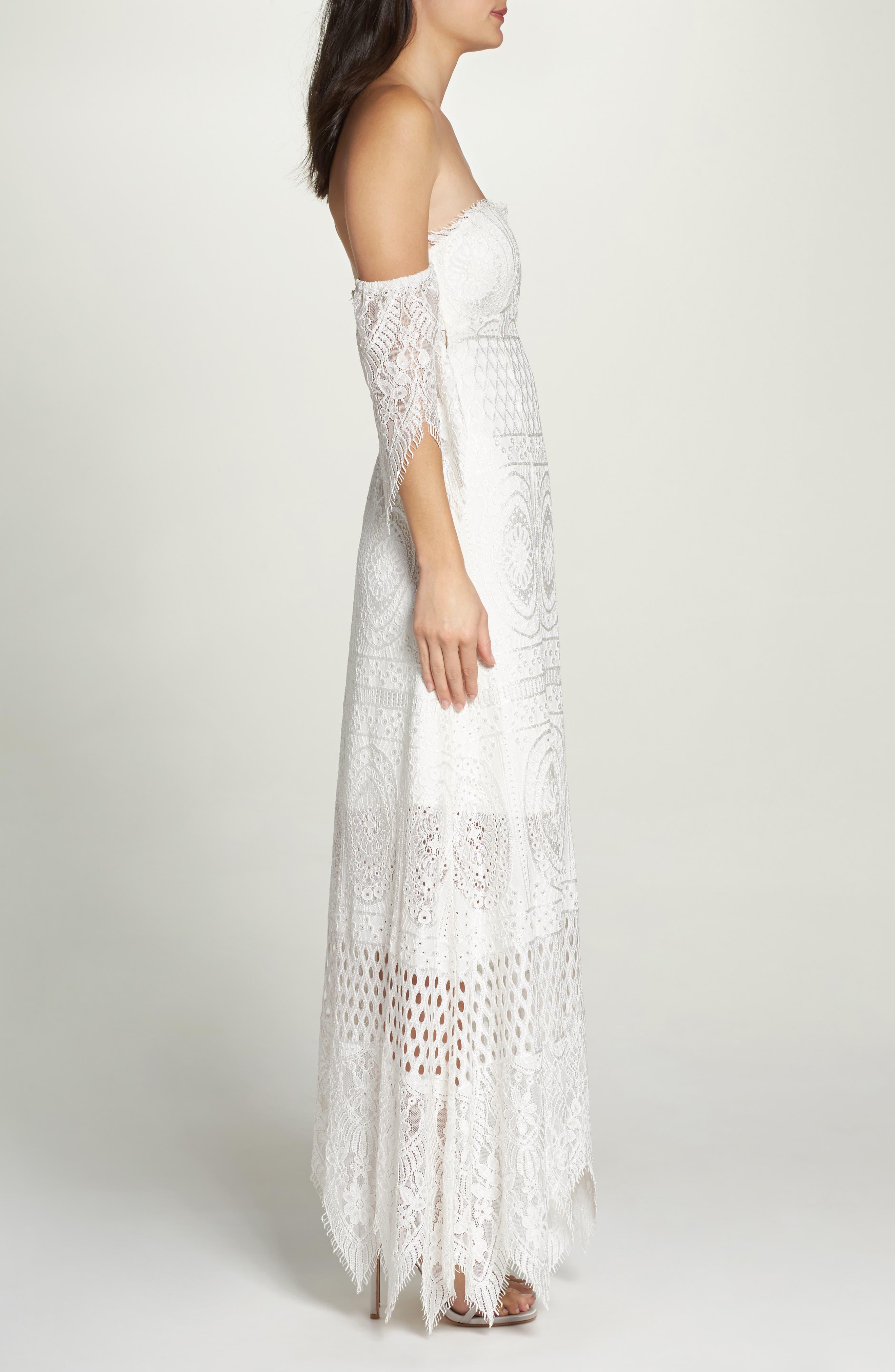 Lace Off the Shoulder Maxi Dress,                             Alternate thumbnail 3, color,                             900