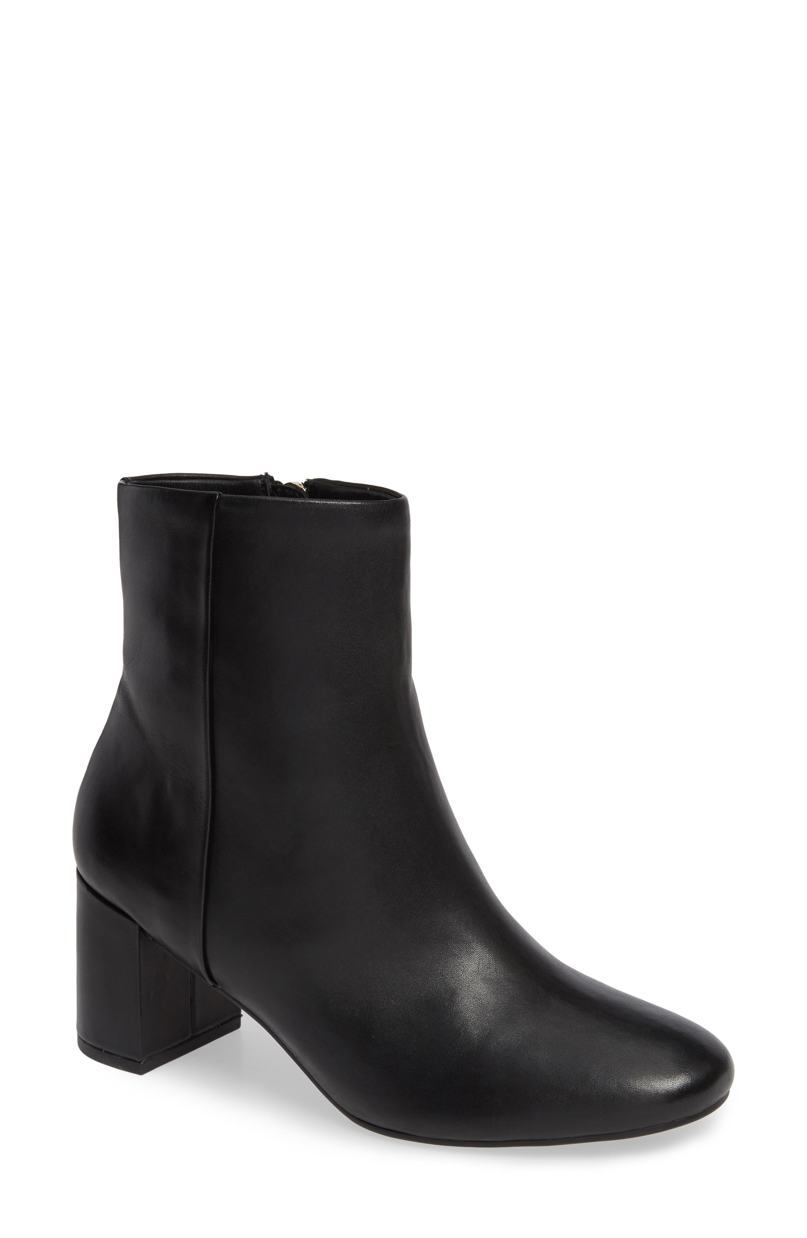 TARYN ROSE Cassidy Leather Ankle Booties in Black Leather