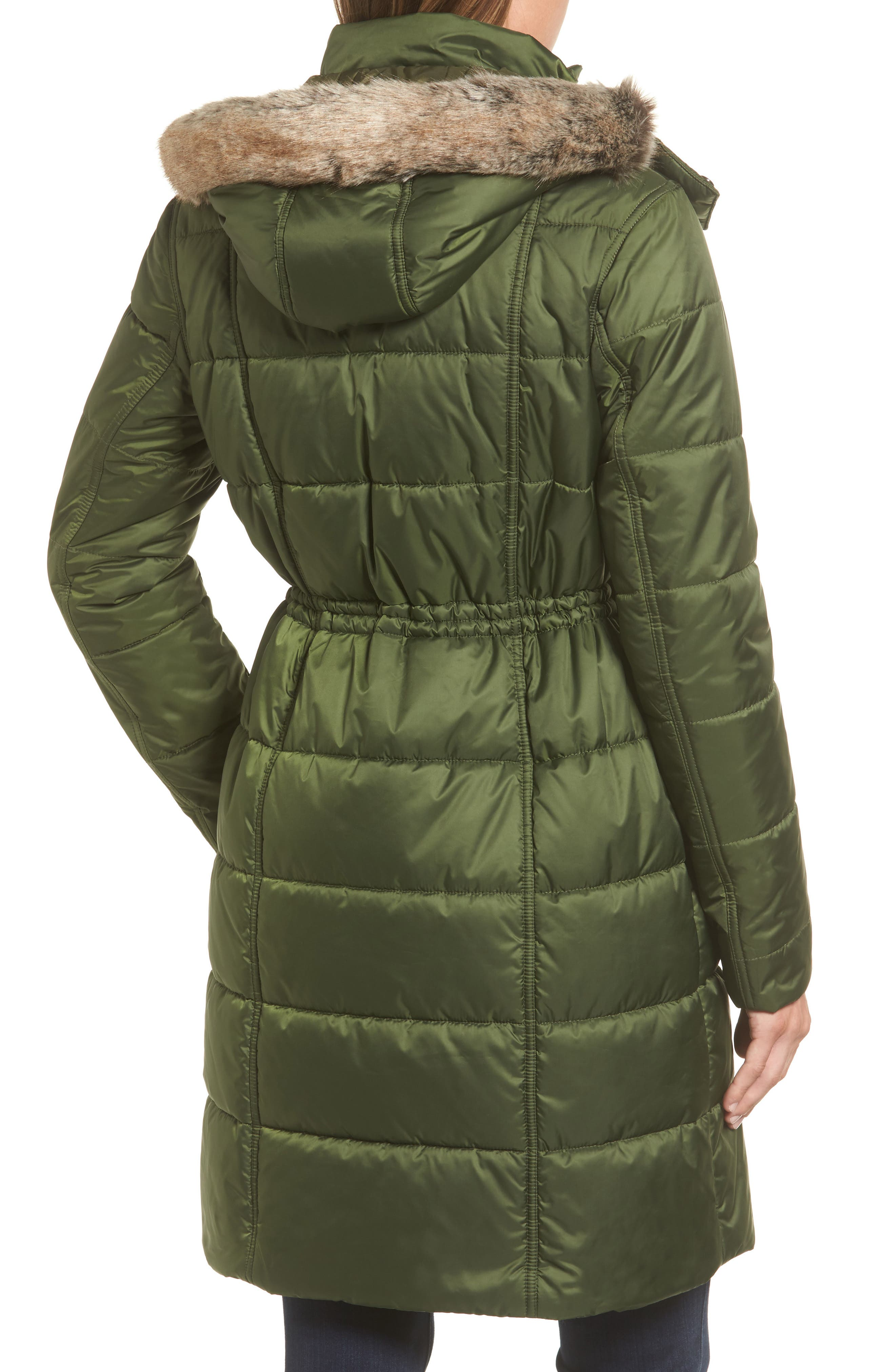 Winterton Water Resistant Hooded Quilted Jacket with Faux Fur Trim,                             Alternate thumbnail 3, color,