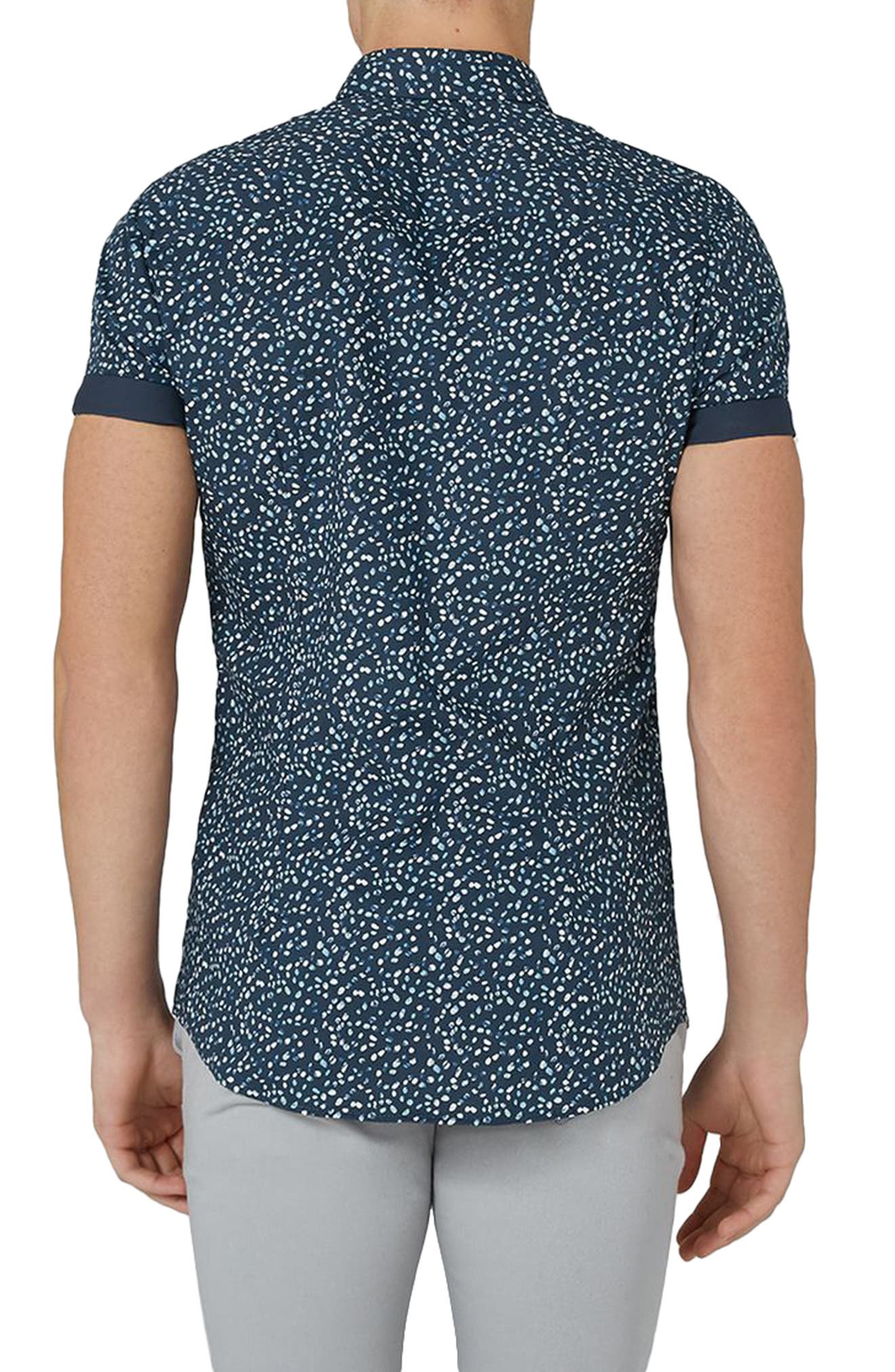Muscle Fit Marble Print Shirt,                             Alternate thumbnail 2, color,                             401
