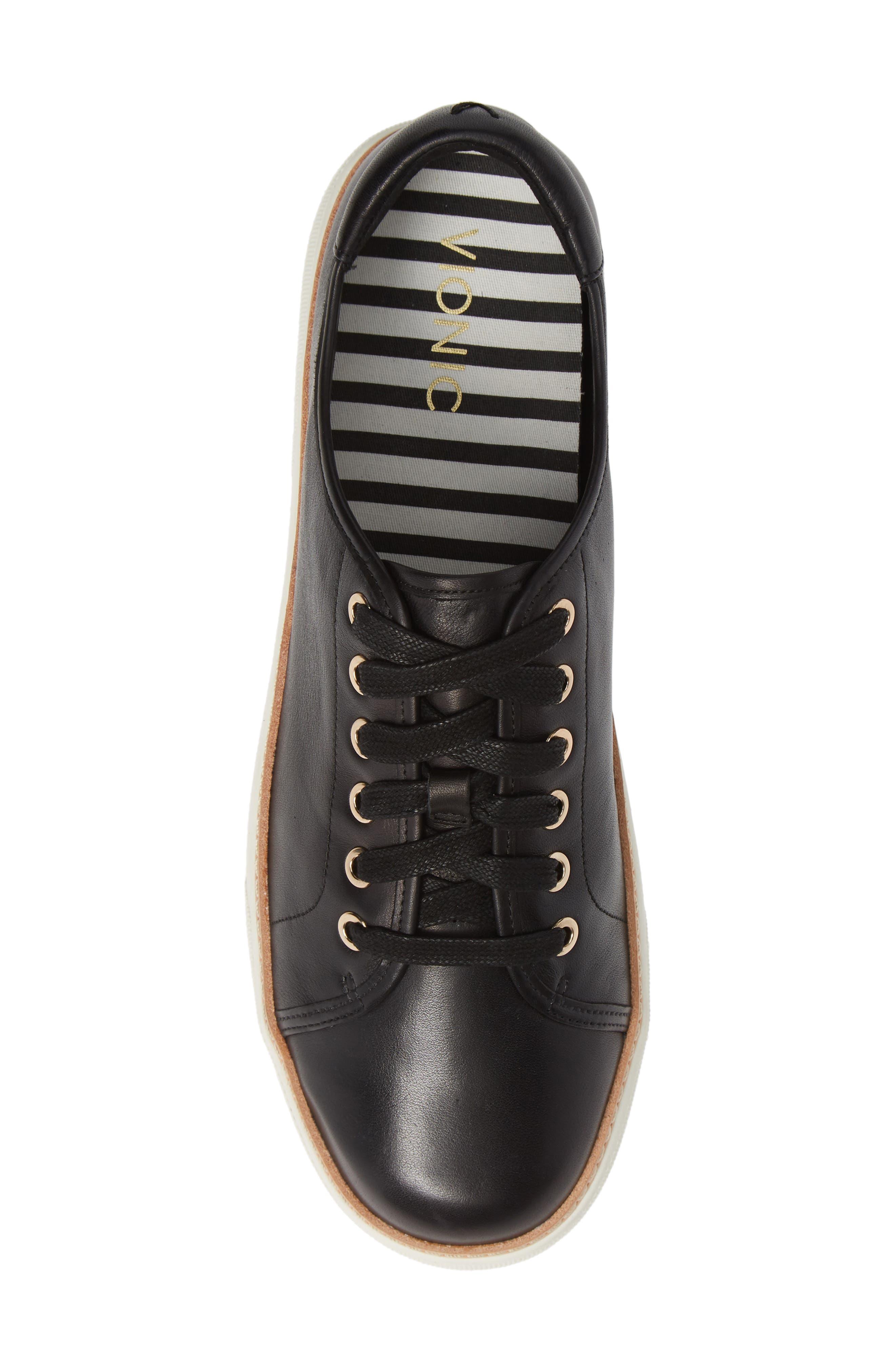 Leah Sneaker,                             Alternate thumbnail 5, color,                             BLACK LEATHER