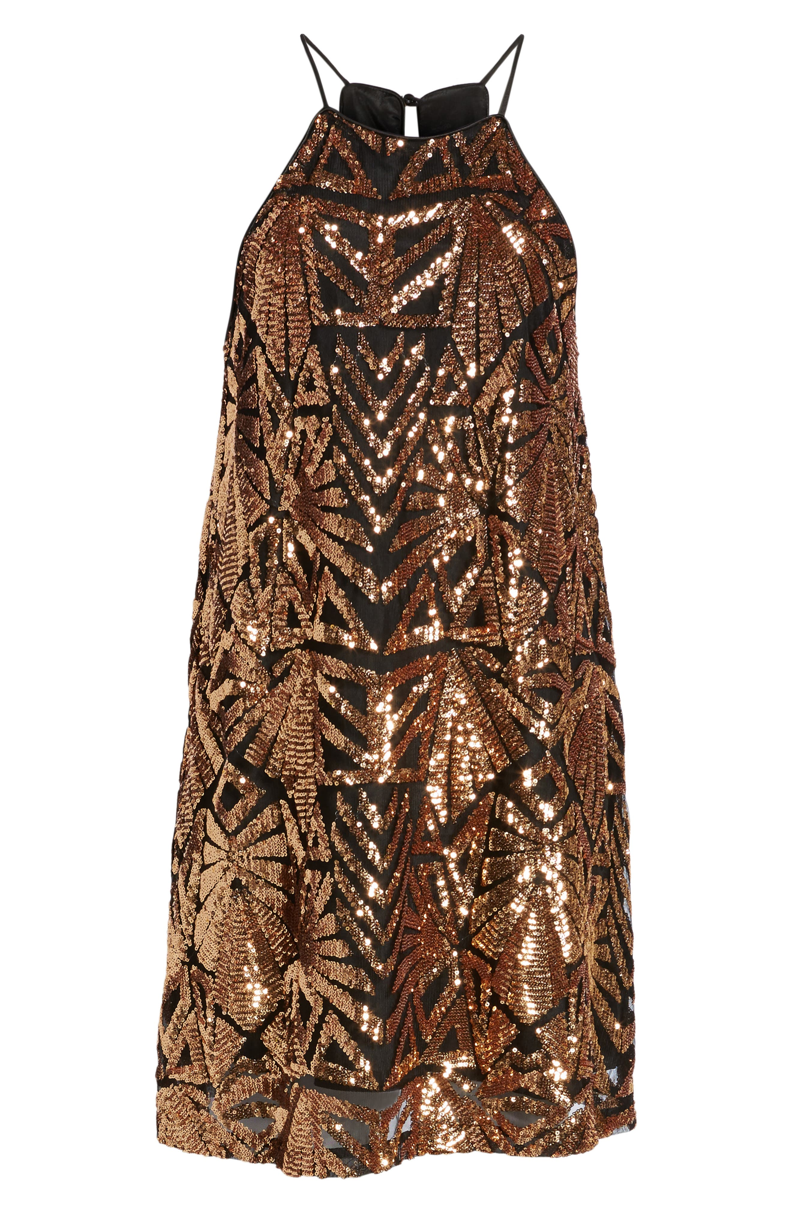 Sequined High Neck Dress,                             Alternate thumbnail 6, color,                             710