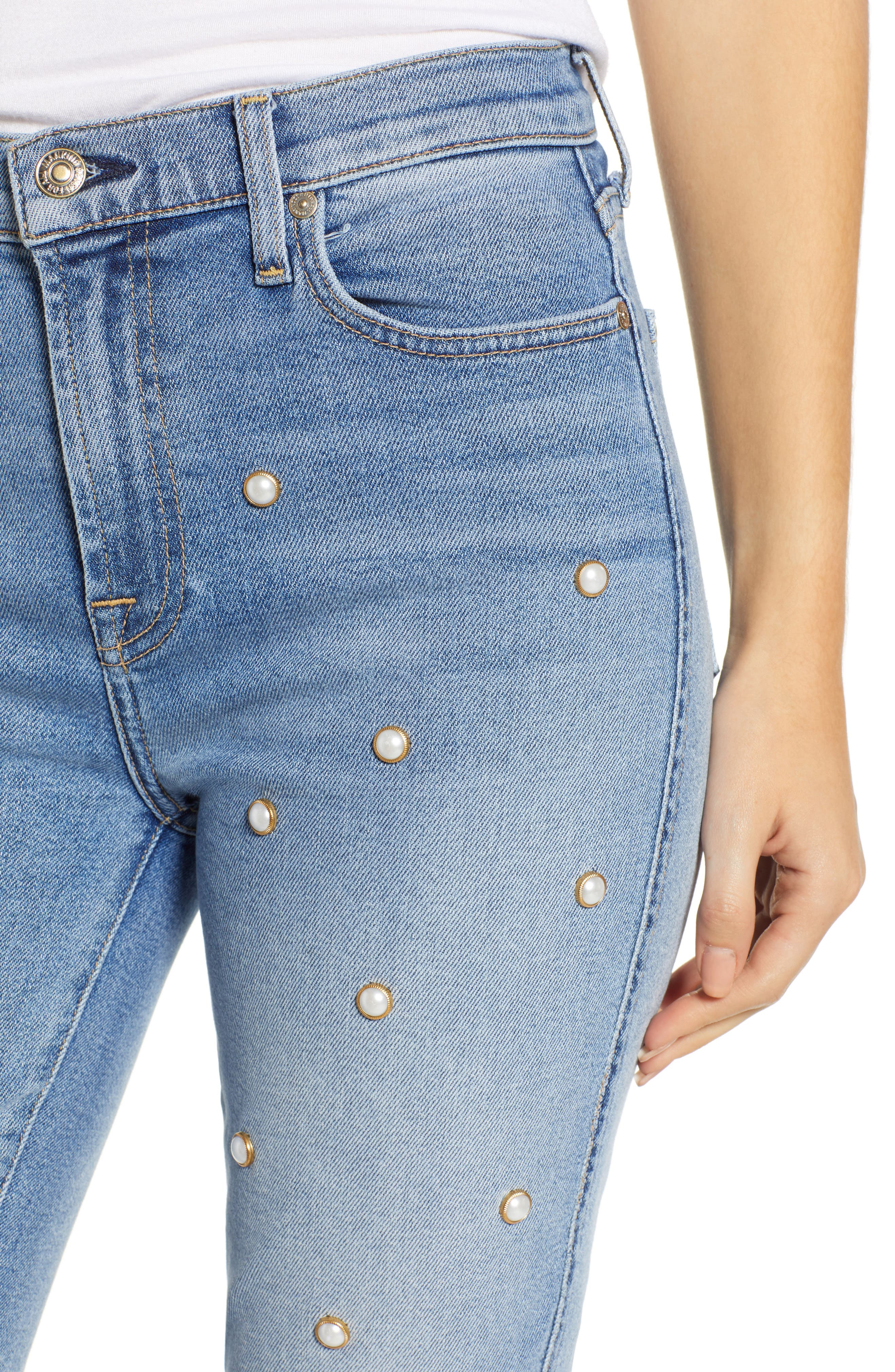 Edie Faux Pearl Detail Ankle Jeans,                             Alternate thumbnail 4, color,                             LUXE VINTAGE FLORA