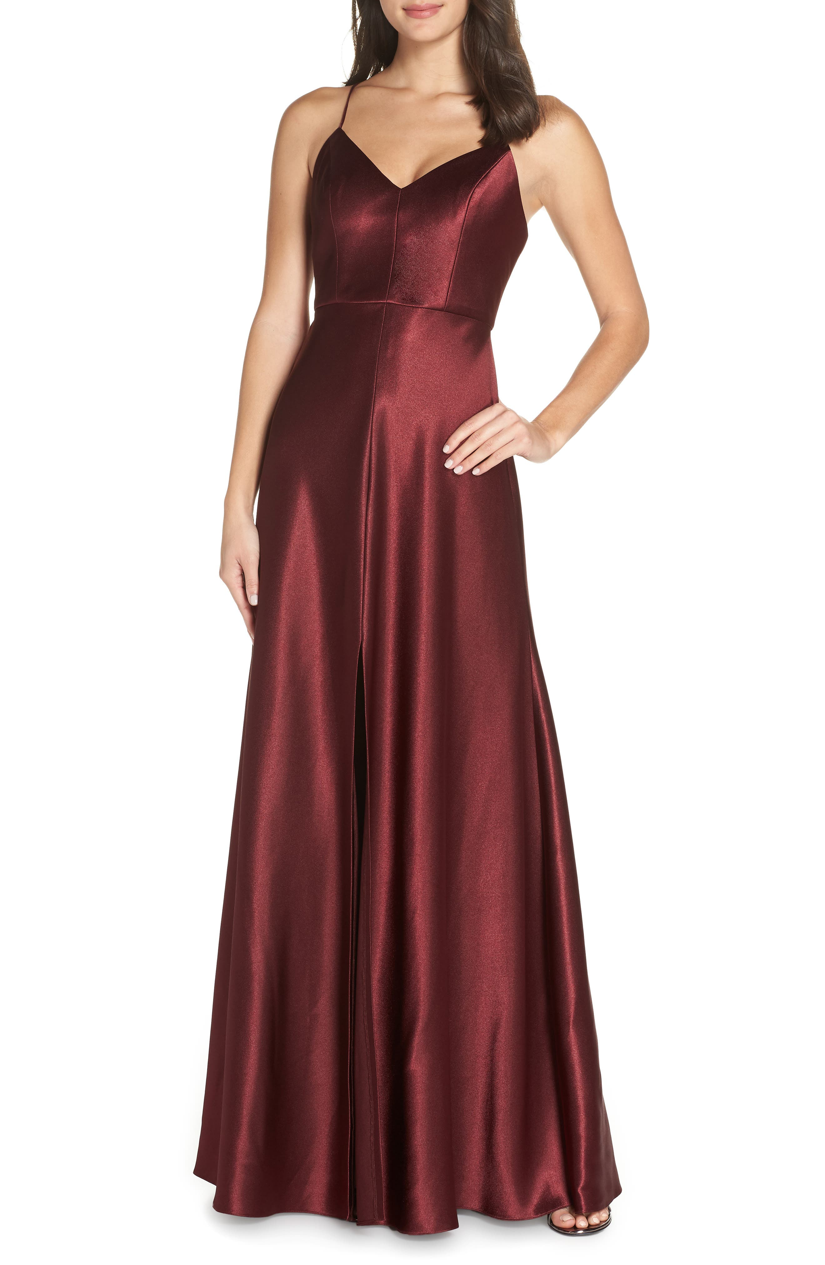 Dina V-Neck Satin Crepe Gown in Hibiscus
