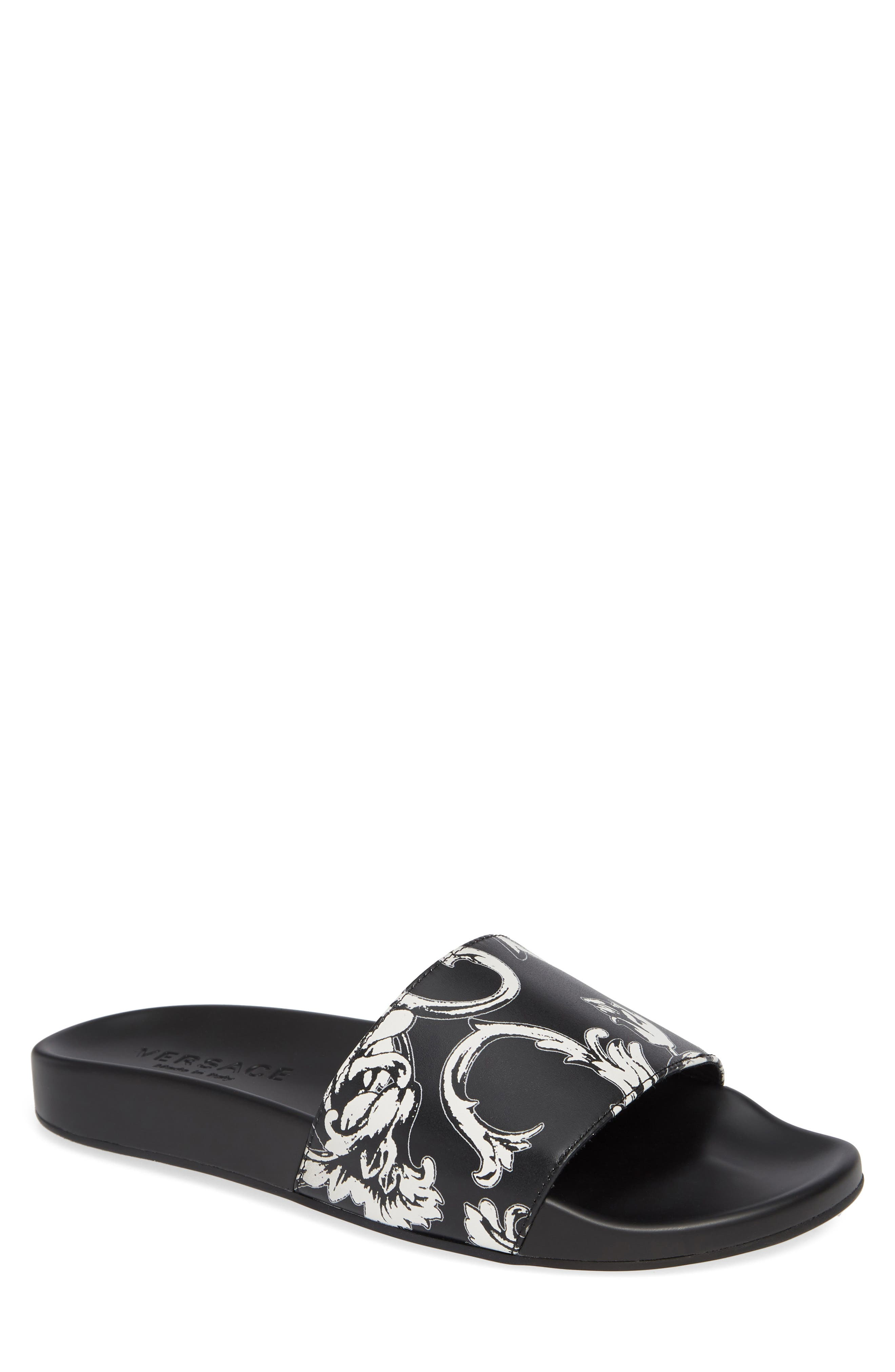 Baroque Print Slide Sandal,                         Main,                         color, WHITE/ BLACK