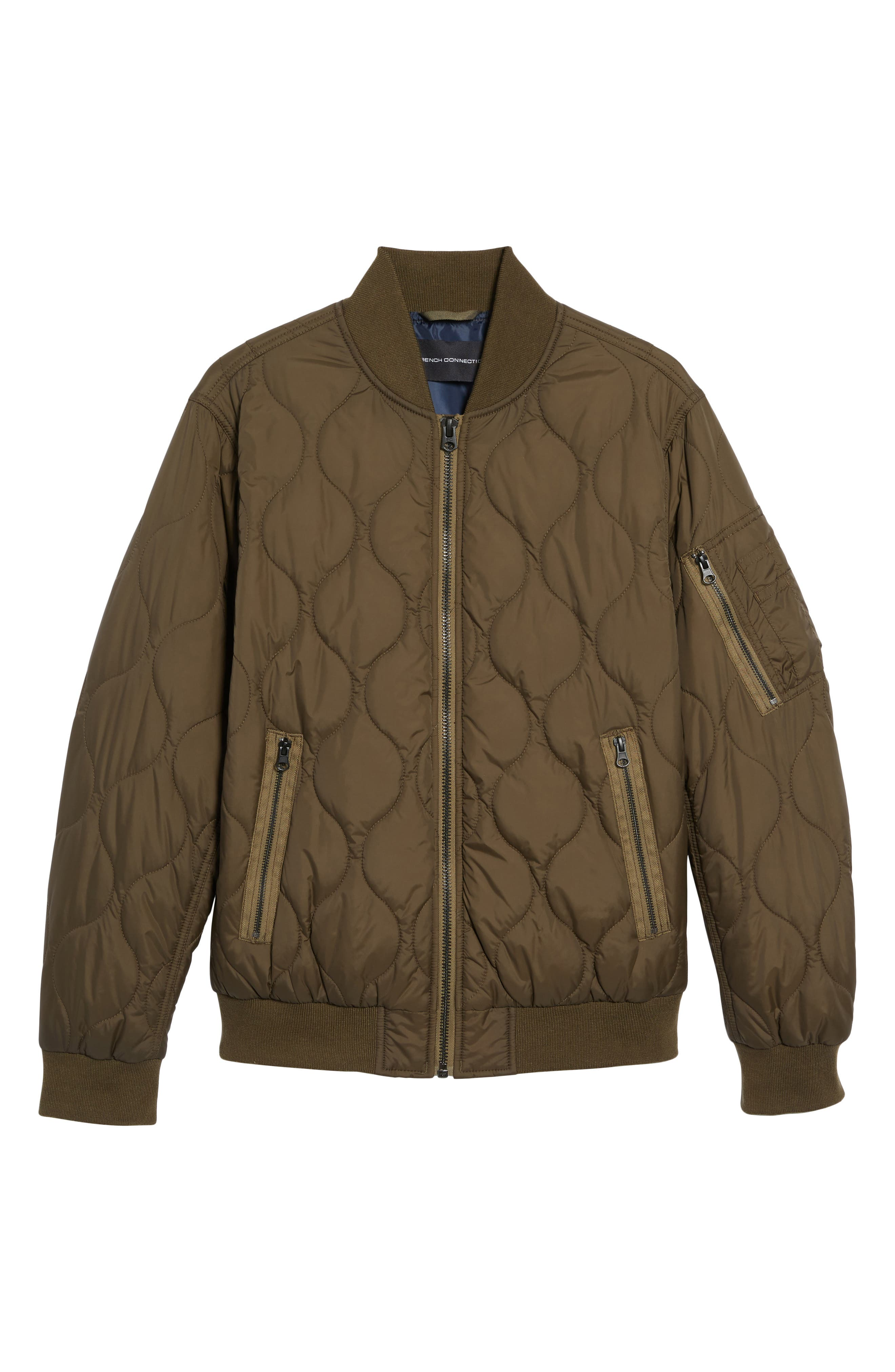 Regular Fit Quilted Bomber Jacket,                             Alternate thumbnail 5, color,