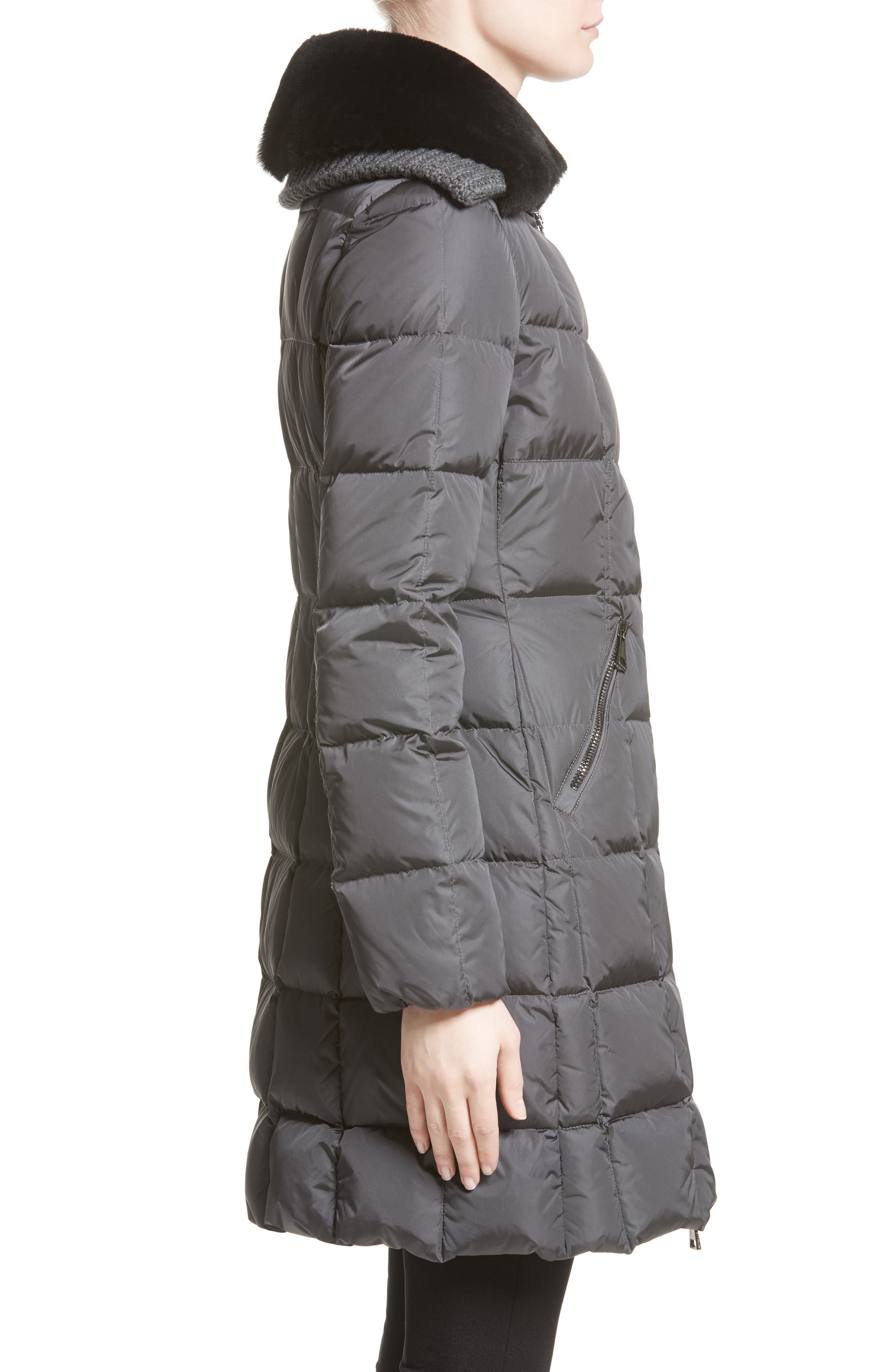 Davidia Quilted Down Coat with Removable Genuine Lamb Fur Collar,                             Alternate thumbnail 3, color,                             GREY