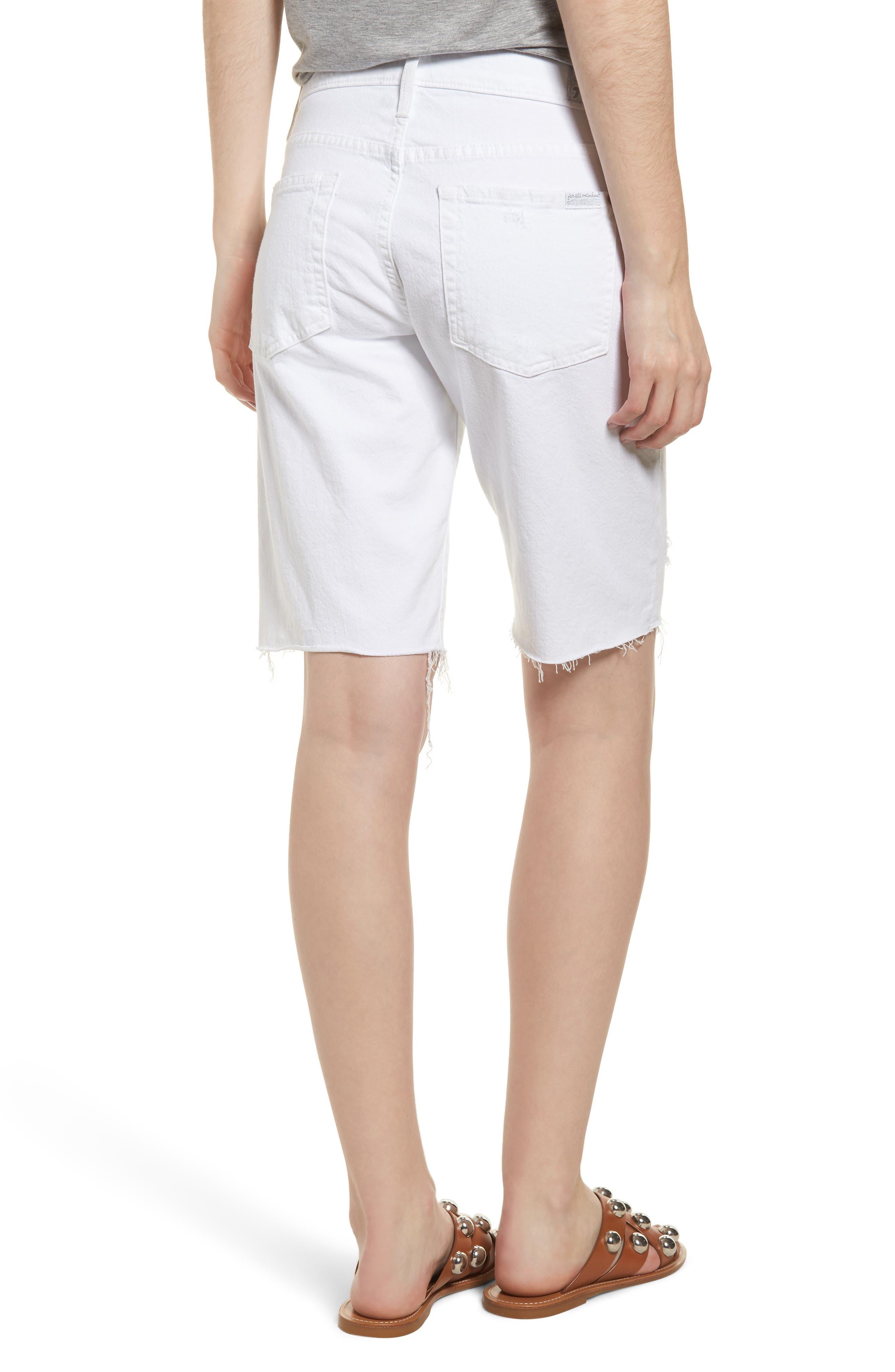 Distressed High Waist Straight Leg Bermuda Shorts,                             Alternate thumbnail 2, color,                             102