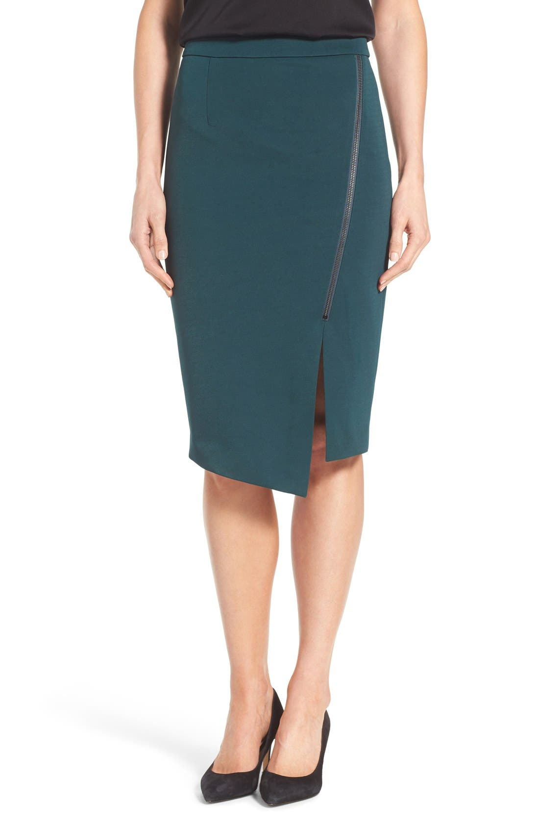 Asymmetrical Zip Pencil Skirt,                             Main thumbnail 2, color,